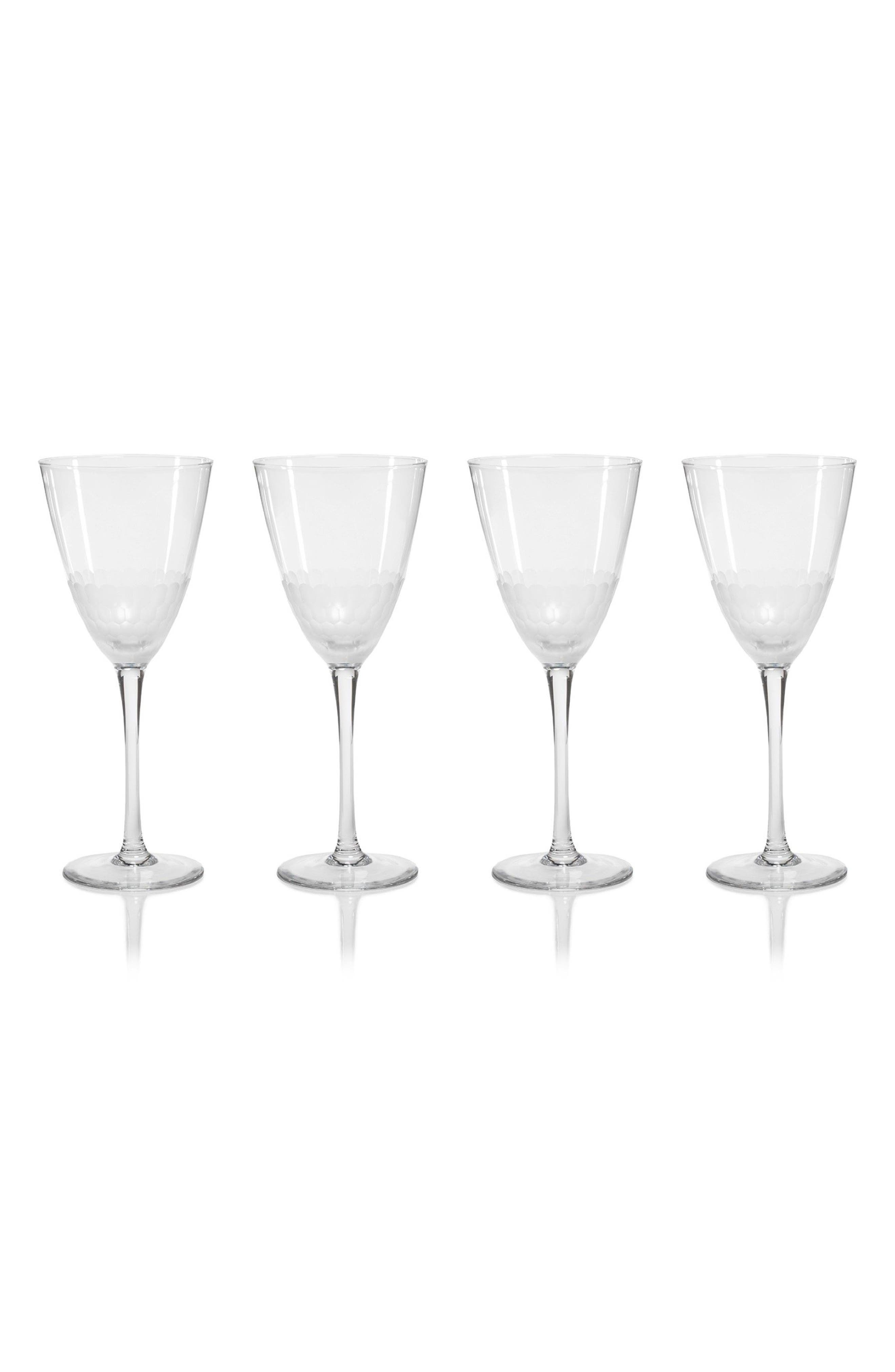 Vitorrio Set of 4 Frosted Wine Glasses,                         Main,                         color, Clear