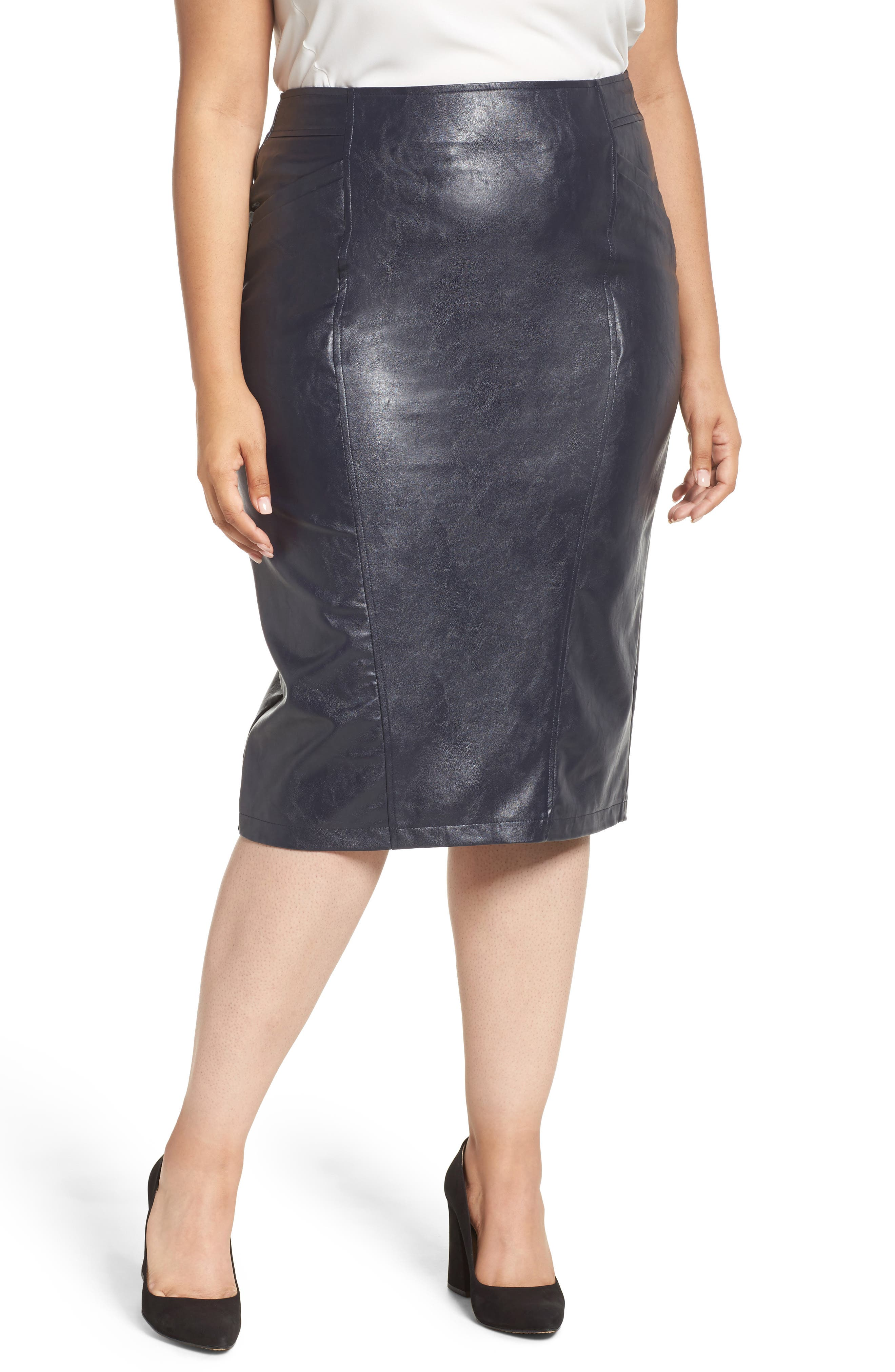 LOST INK Faux Leather Pencil Skirt (Plus Size)
