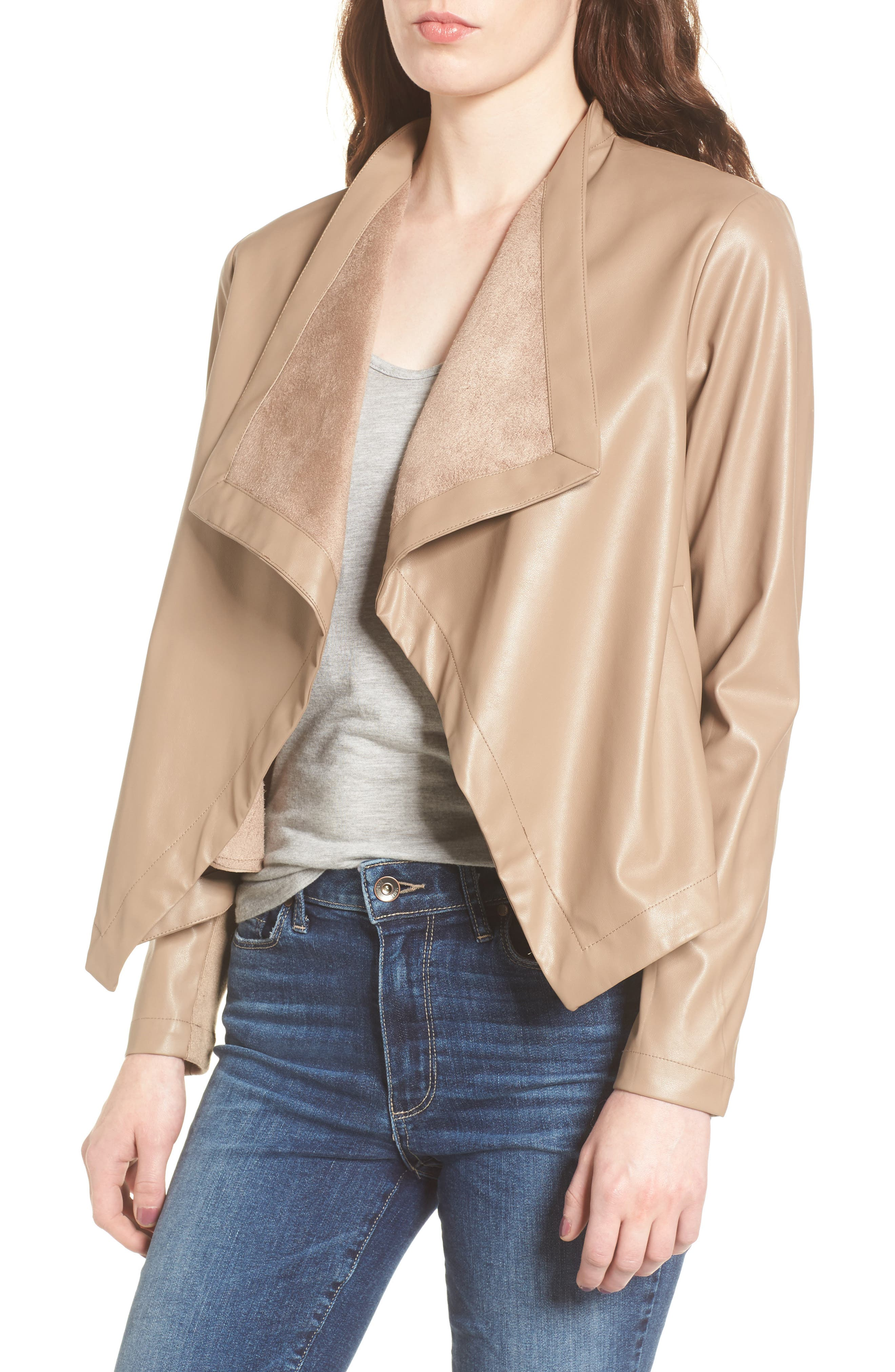 Main Image - BB Dakota 'Peppin' Drape Front Faux Leather Jacket