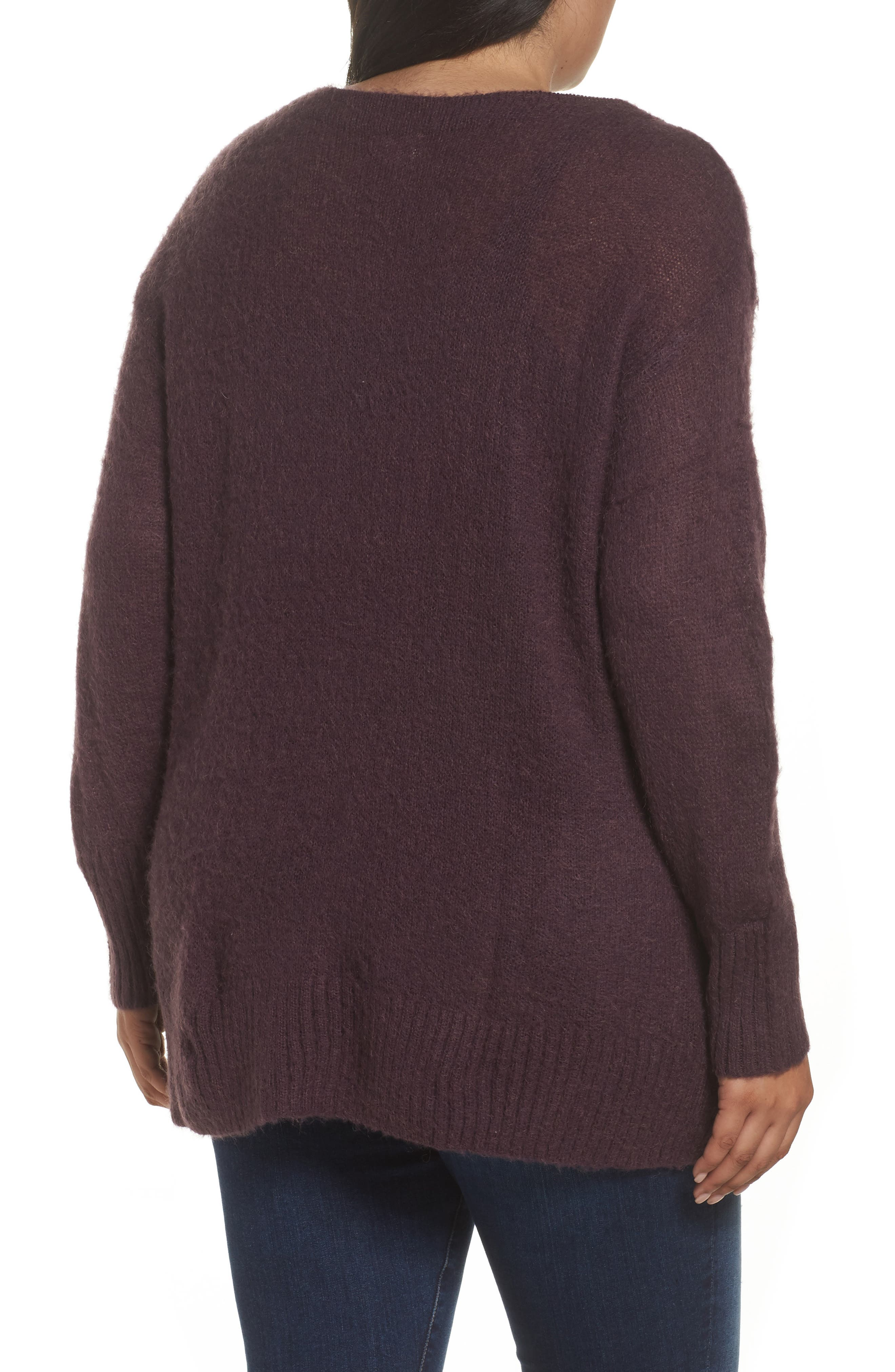 Long Sleeve Brushed Sweater,                             Alternate thumbnail 2, color,                             Purple Plum
