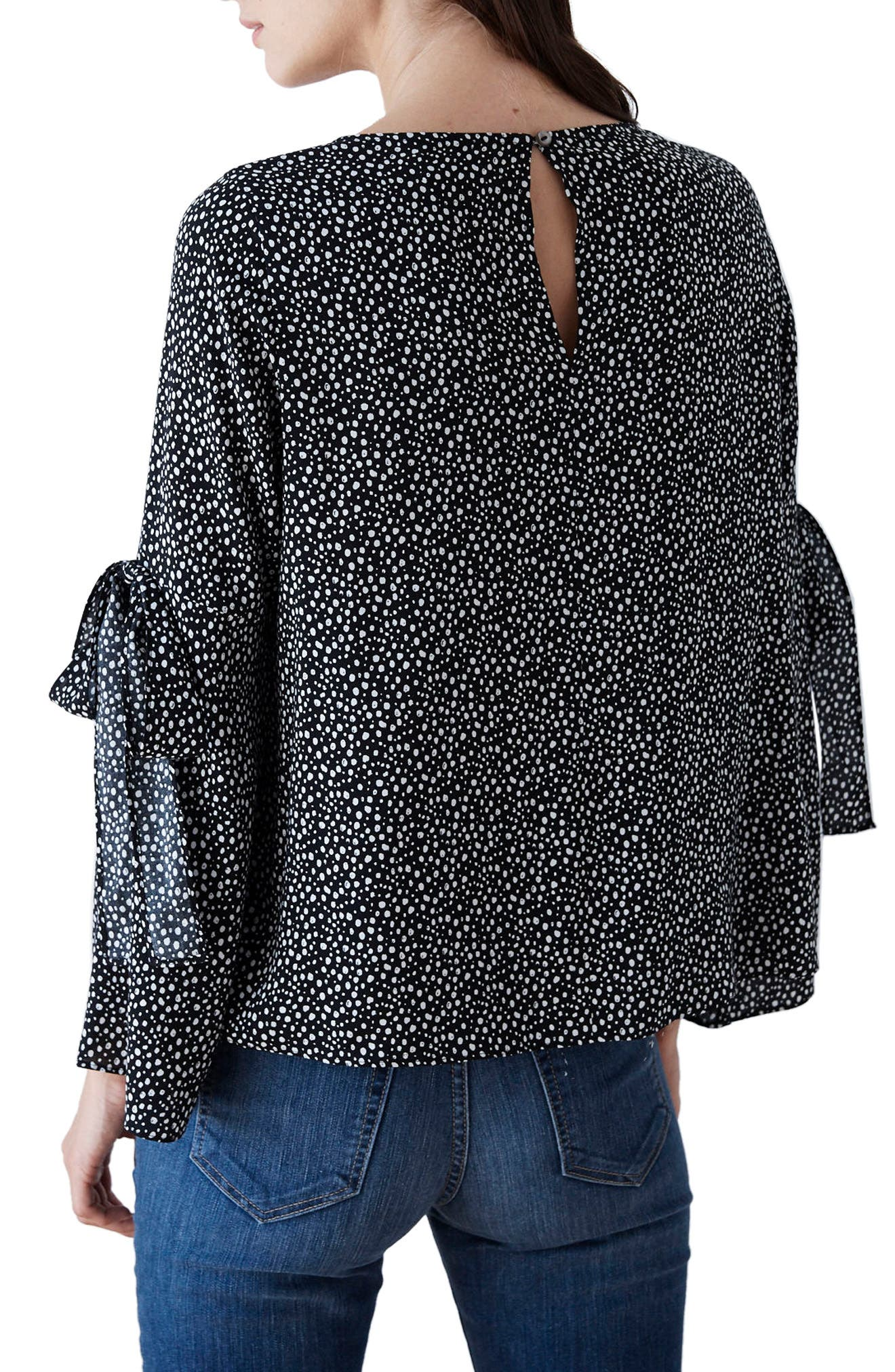 Printed Tie-Sleeve Blouse,                             Alternate thumbnail 2, color,                             Black Snow