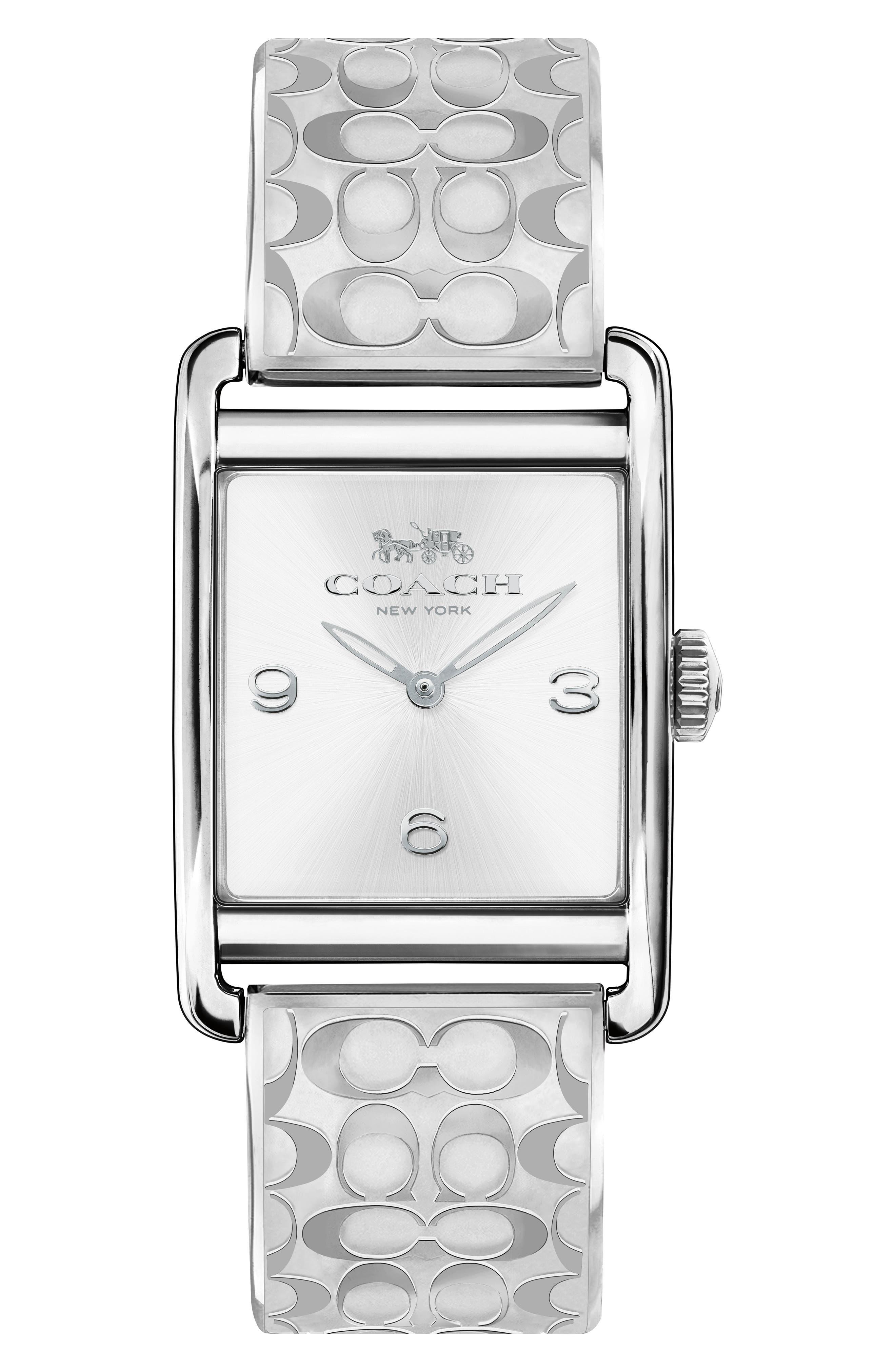 Renwick Bracelet Tank Watch, 24mm x 35mm,                             Main thumbnail 1, color,                             Silver/ White/ Silver