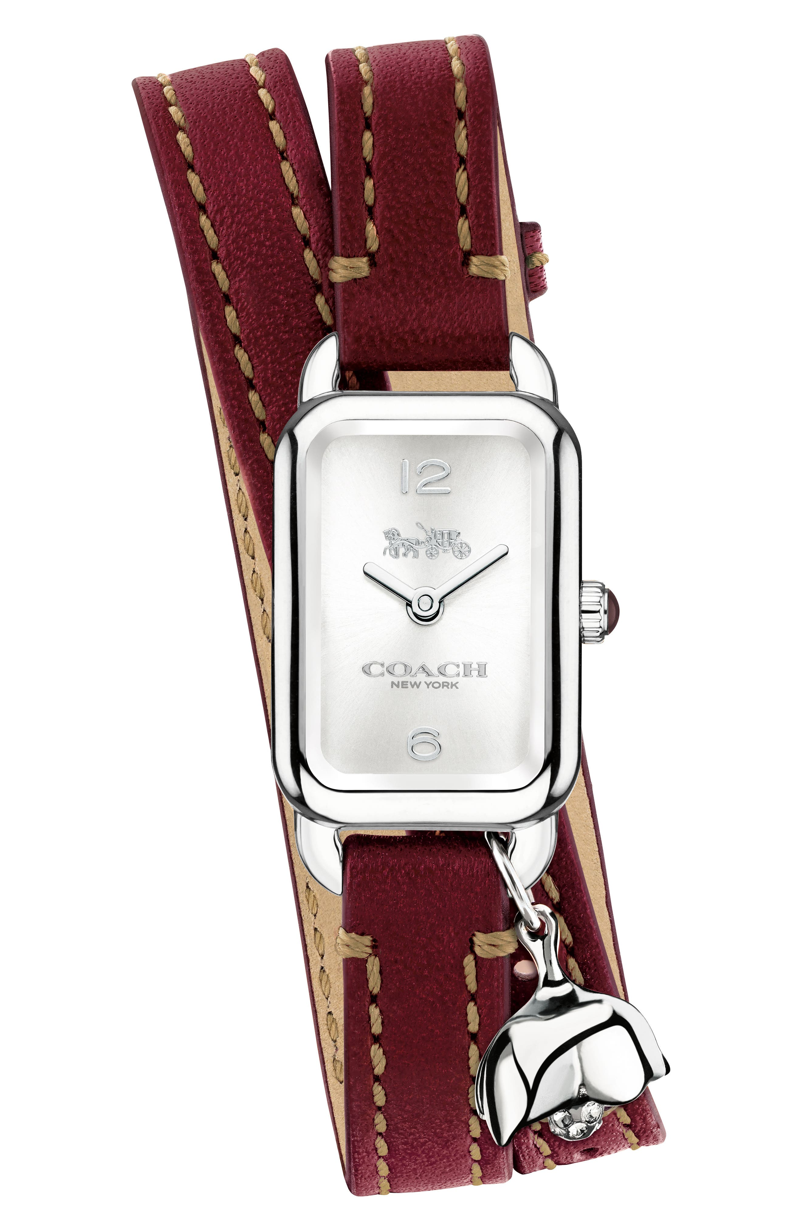 Ludlow Double Wrap Leather Strap Watch, 17mm x 24mm,                         Main,                         color, Red/ Silver