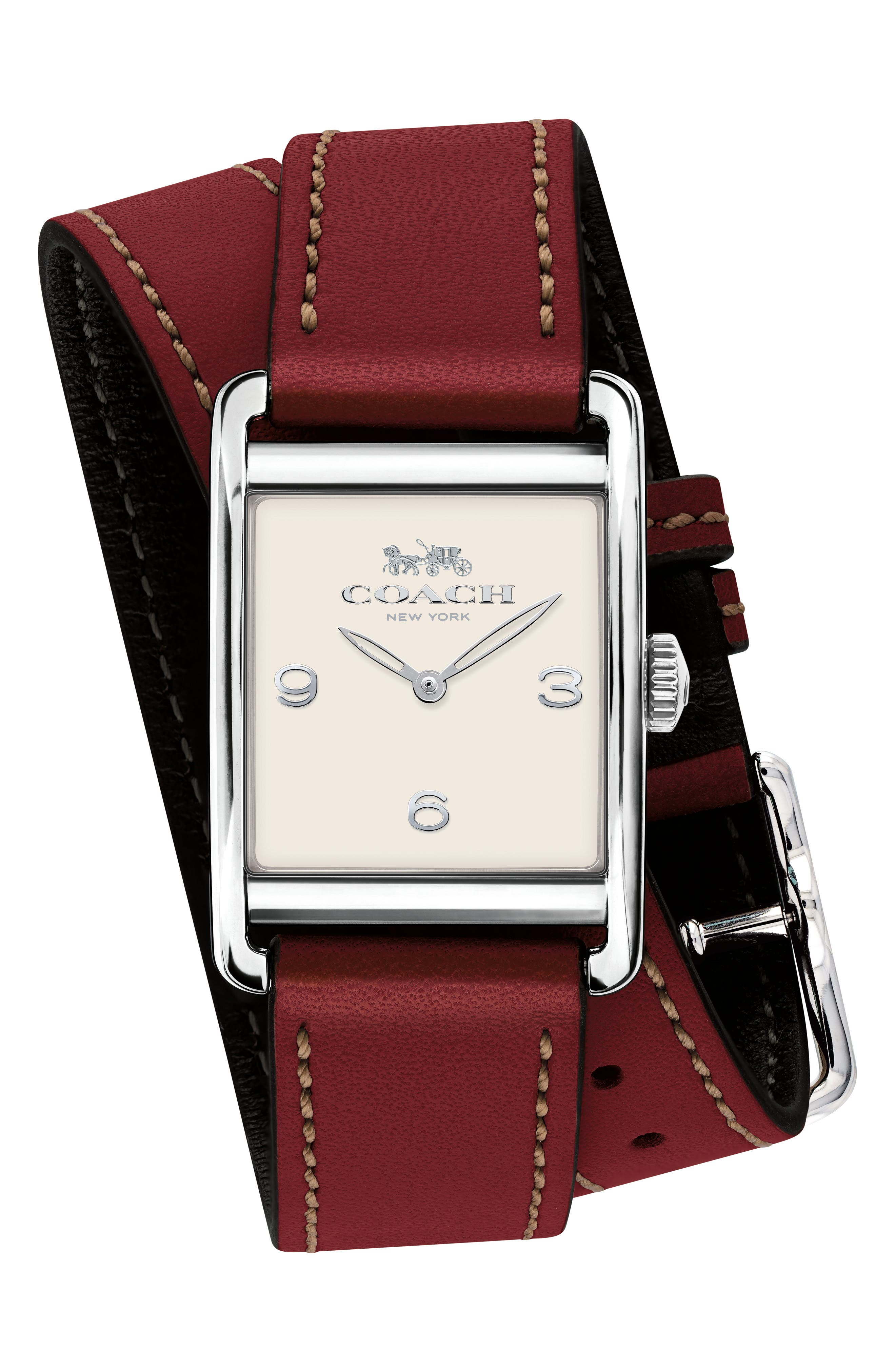 Renwick Double Wrap Leather Strap Watch, 24mm x 35mm,                             Main thumbnail 1, color,                             Red/ White/ Silver