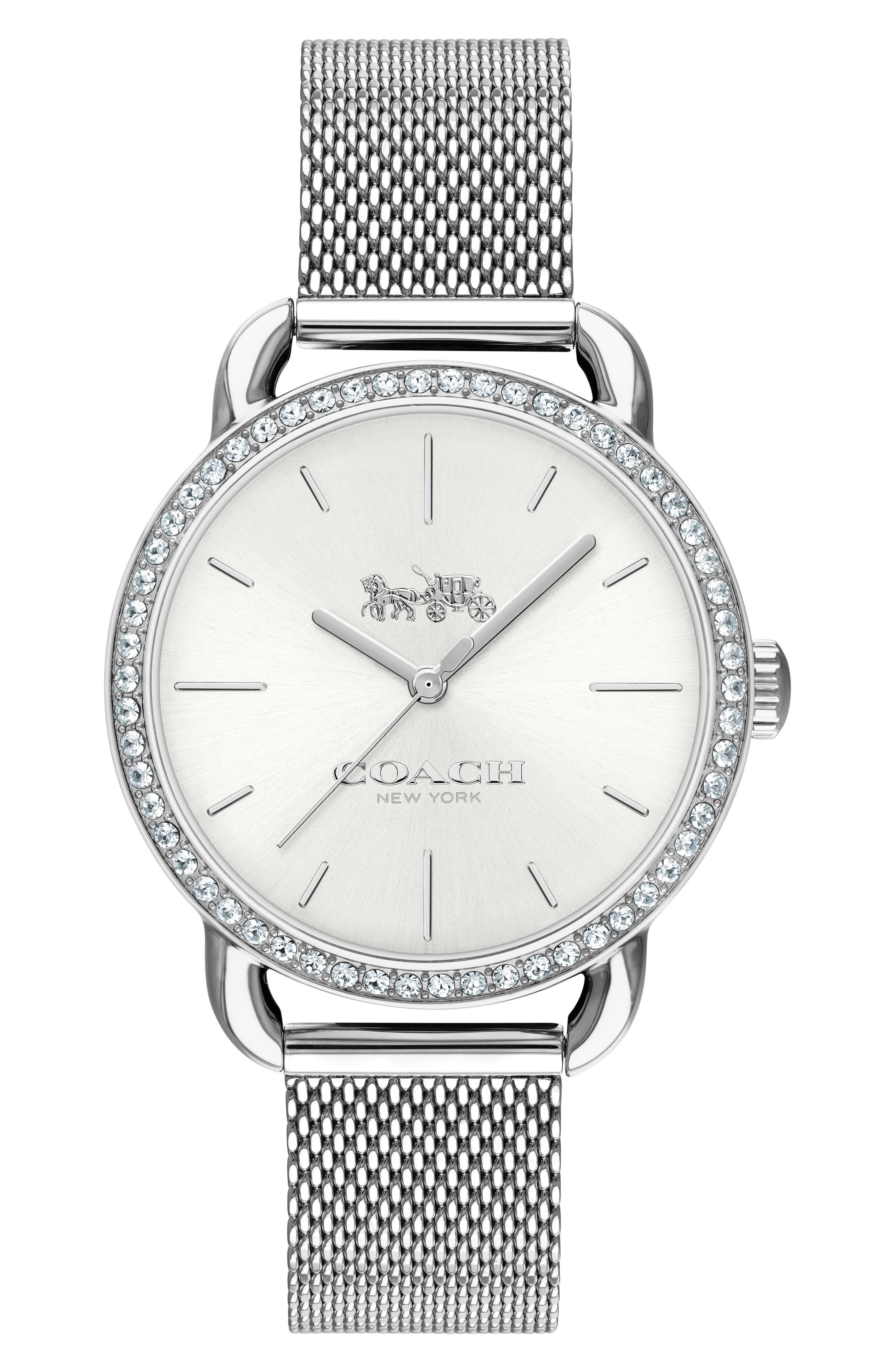 Lex Crystal Mesh Bracelet Watch, 32mm,                         Main,                         color, Silver