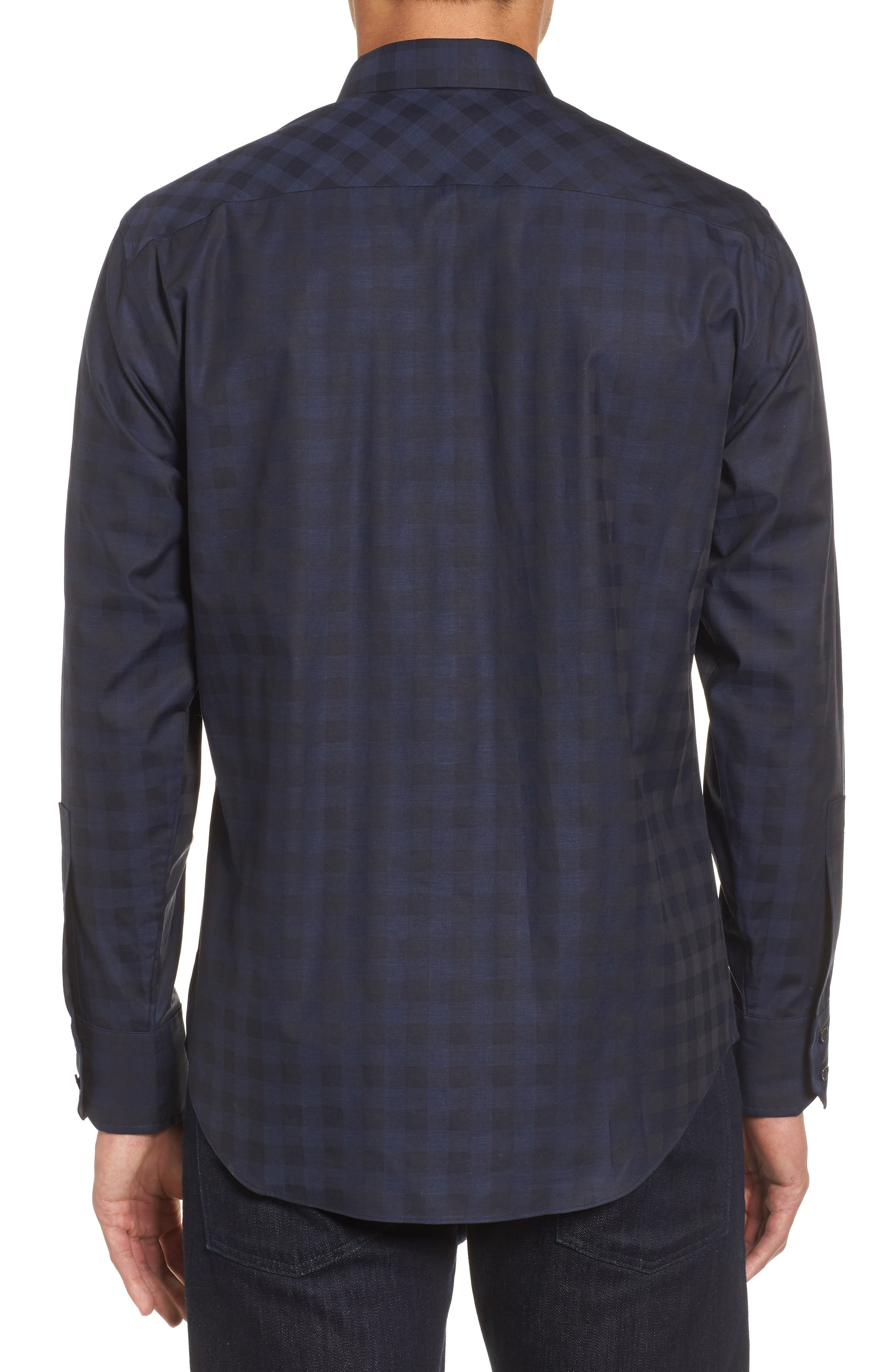 Torres Check Sport Shirt,                             Alternate thumbnail 2, color,                             Navy