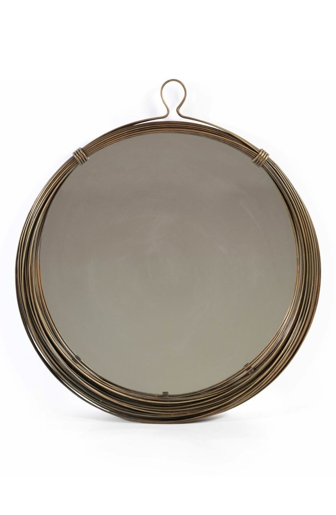 Round Wall Mirror,                         Main,                         color, Brown