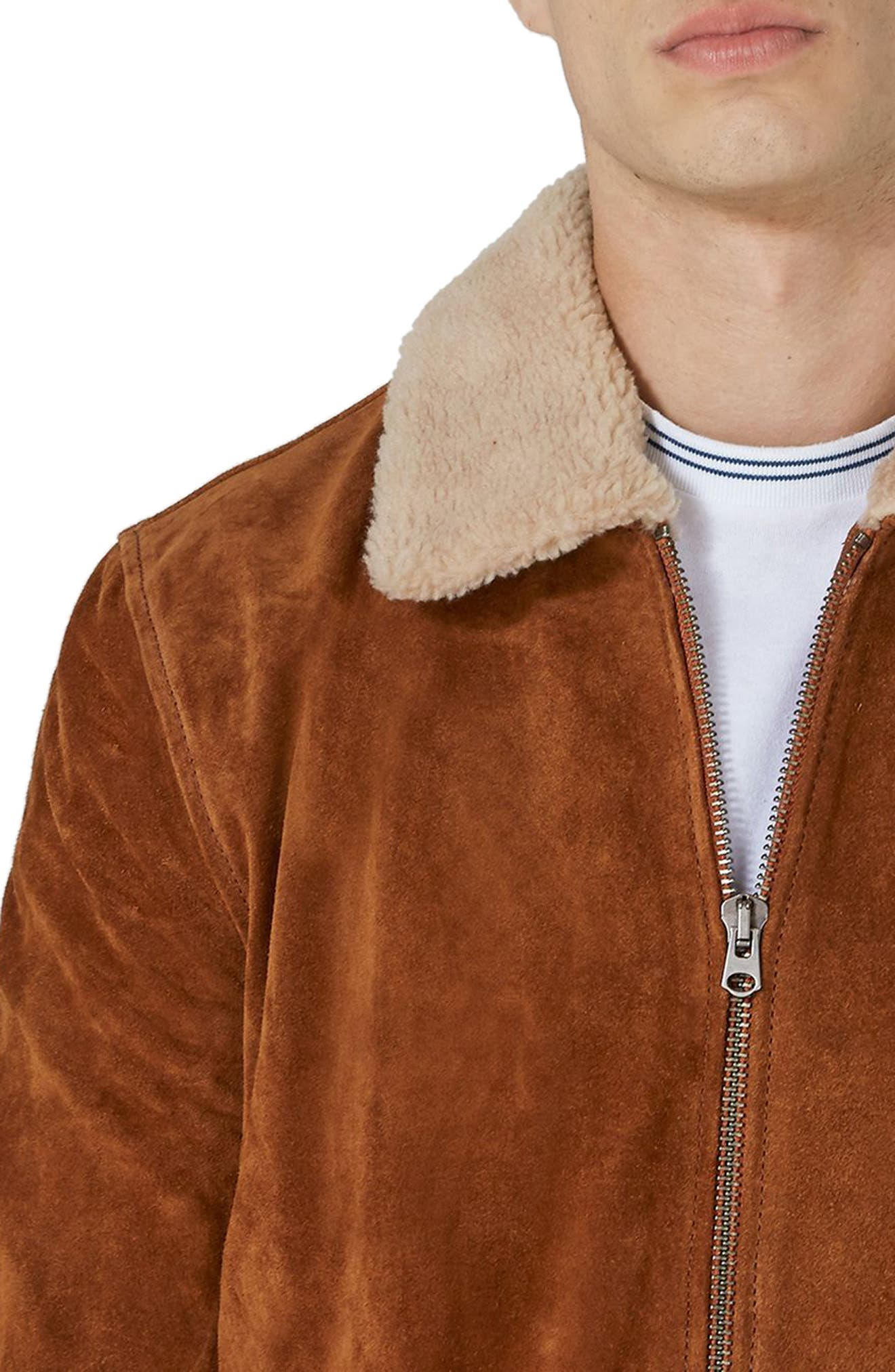 Borg Collar Suede Jacket,                             Alternate thumbnail 3, color,                             Brown