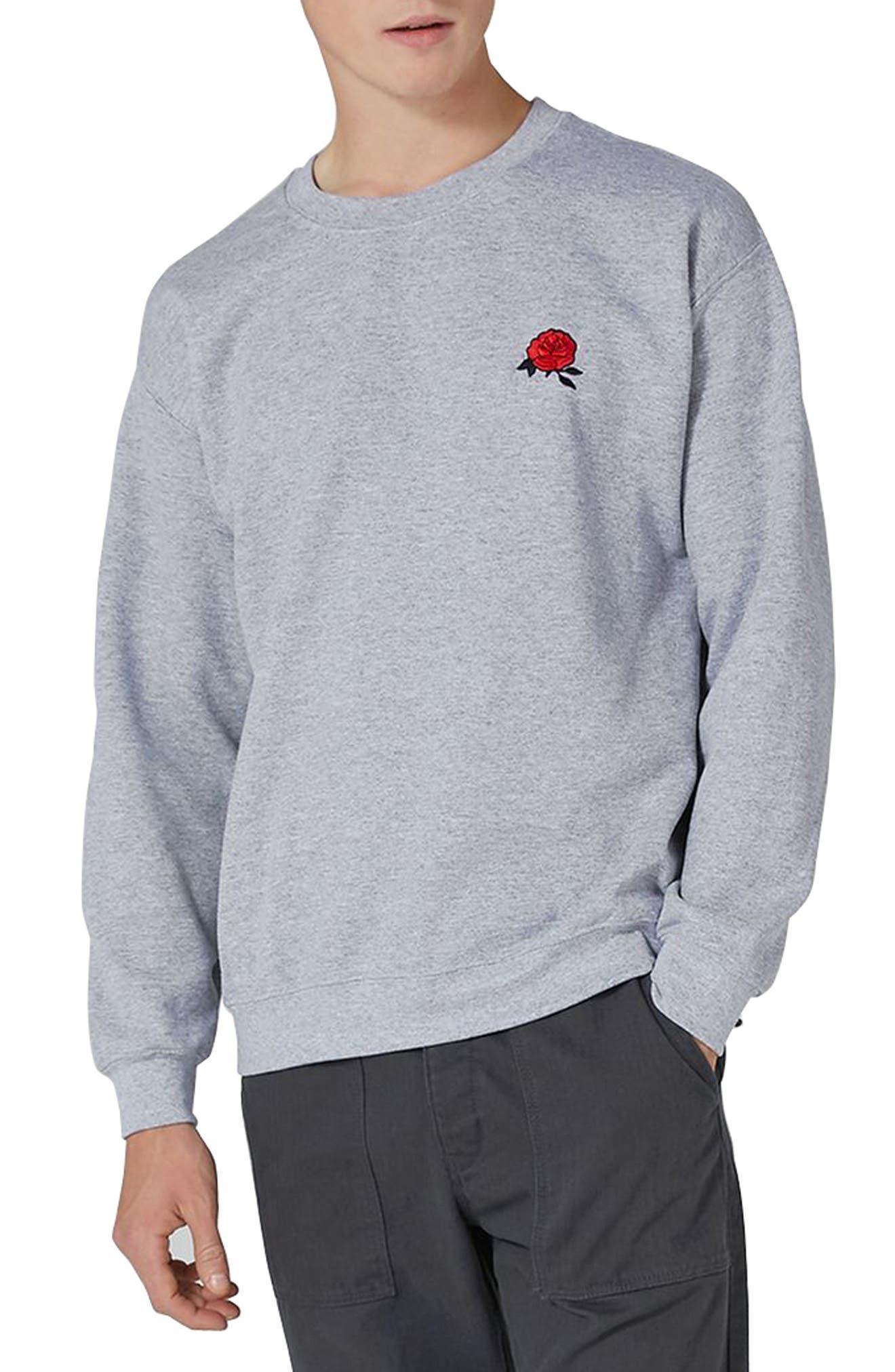 Rose Embroidered Sweatshirt,                         Main,                         color, Light Grey