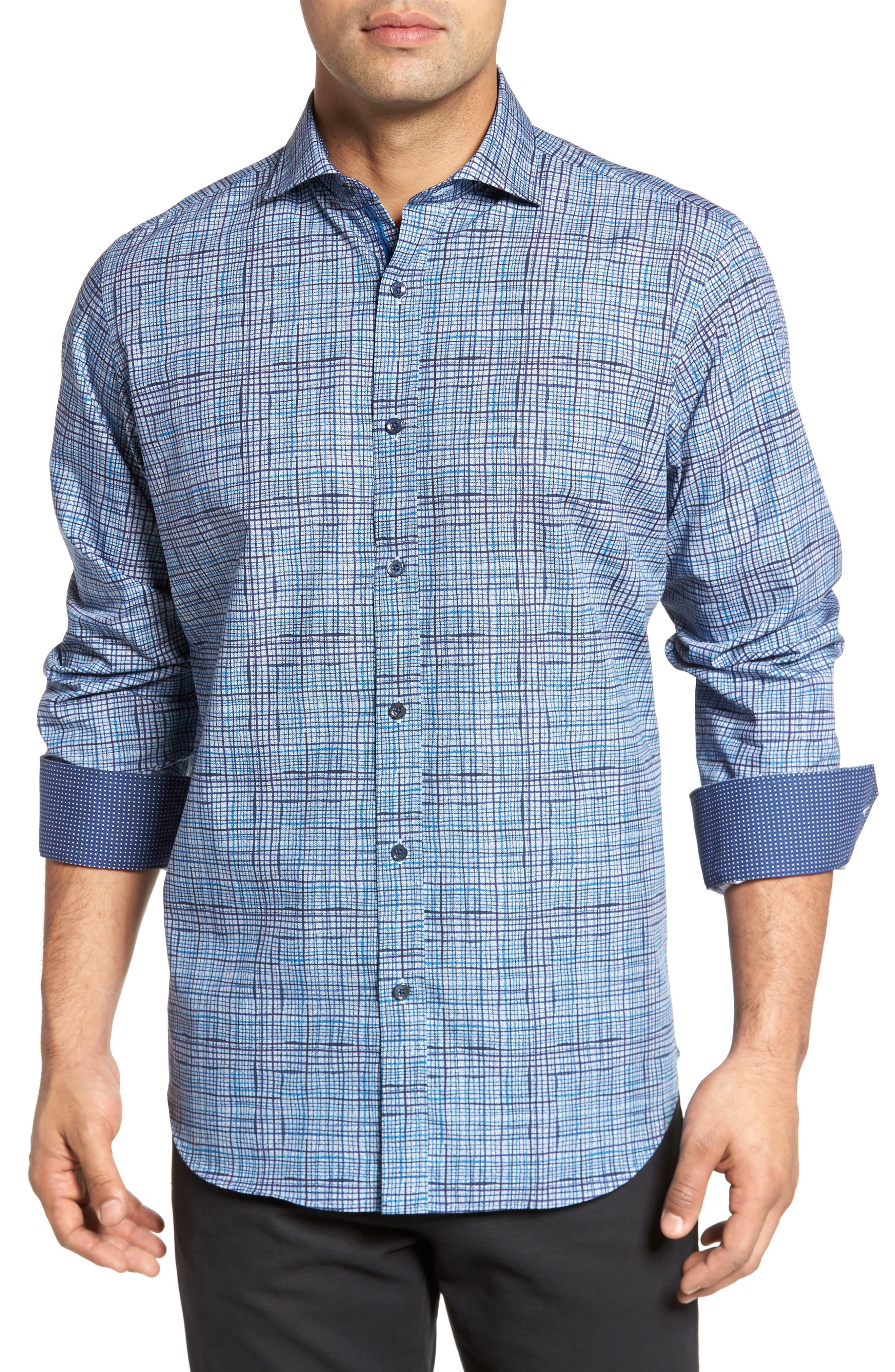 Classic Fit Grid Print Sport Shirt,                         Main,                         color, Steel
