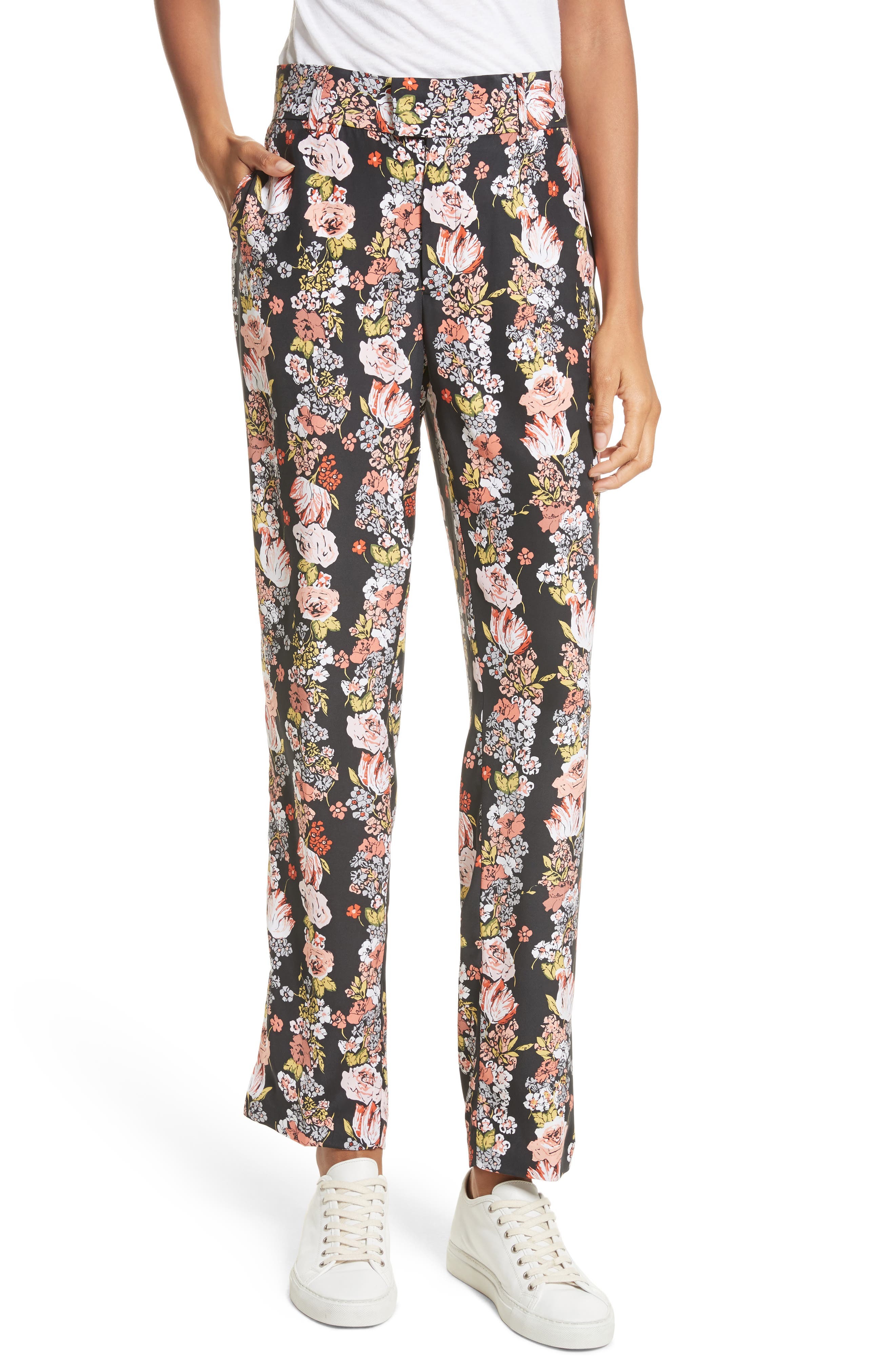 Florence Floral Silk Trousers,                             Main thumbnail 1, color,                             True Black Multi