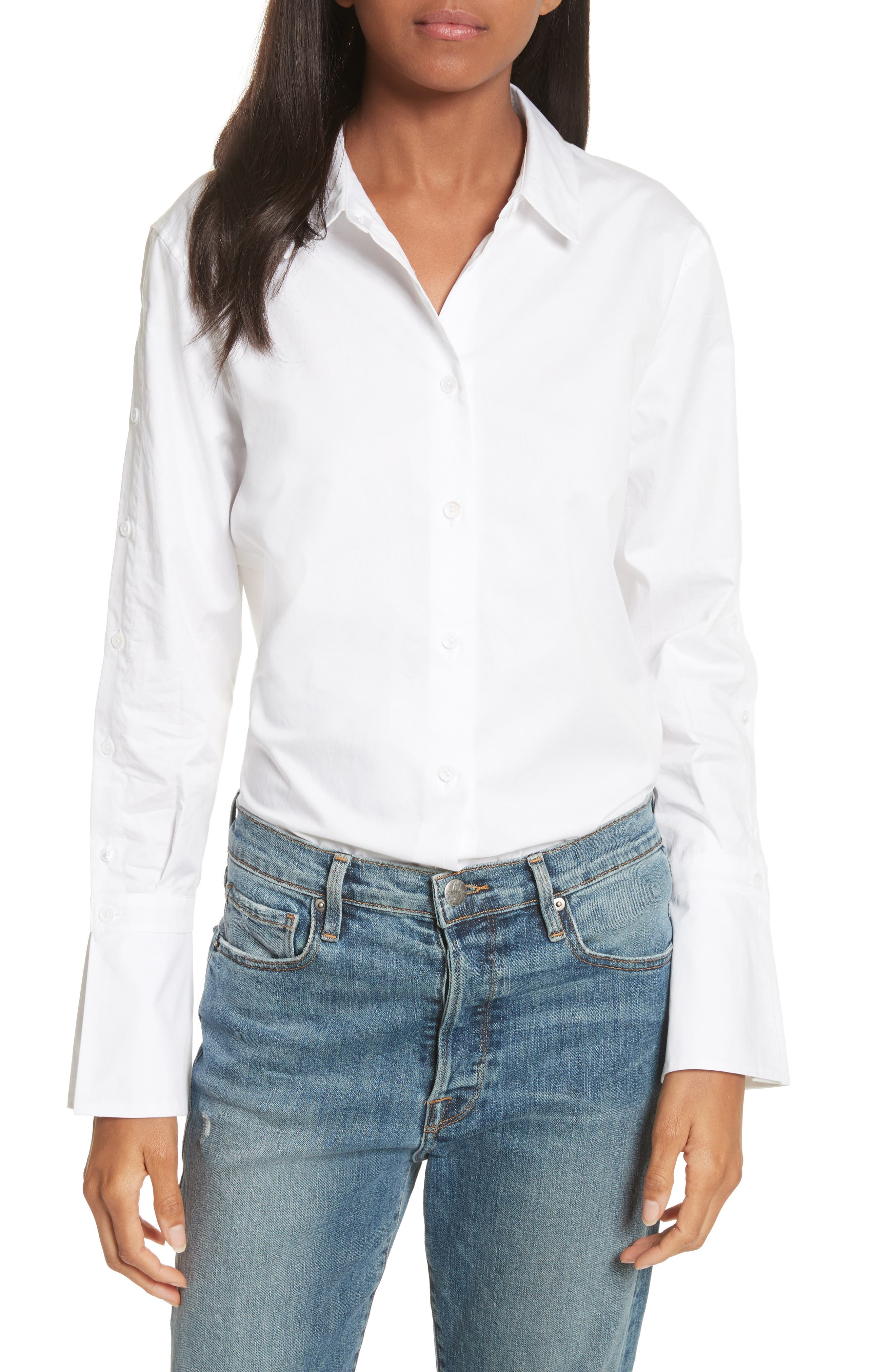 Rossi Button Detail Cotton Shirt,                         Main,                         color, Bright White