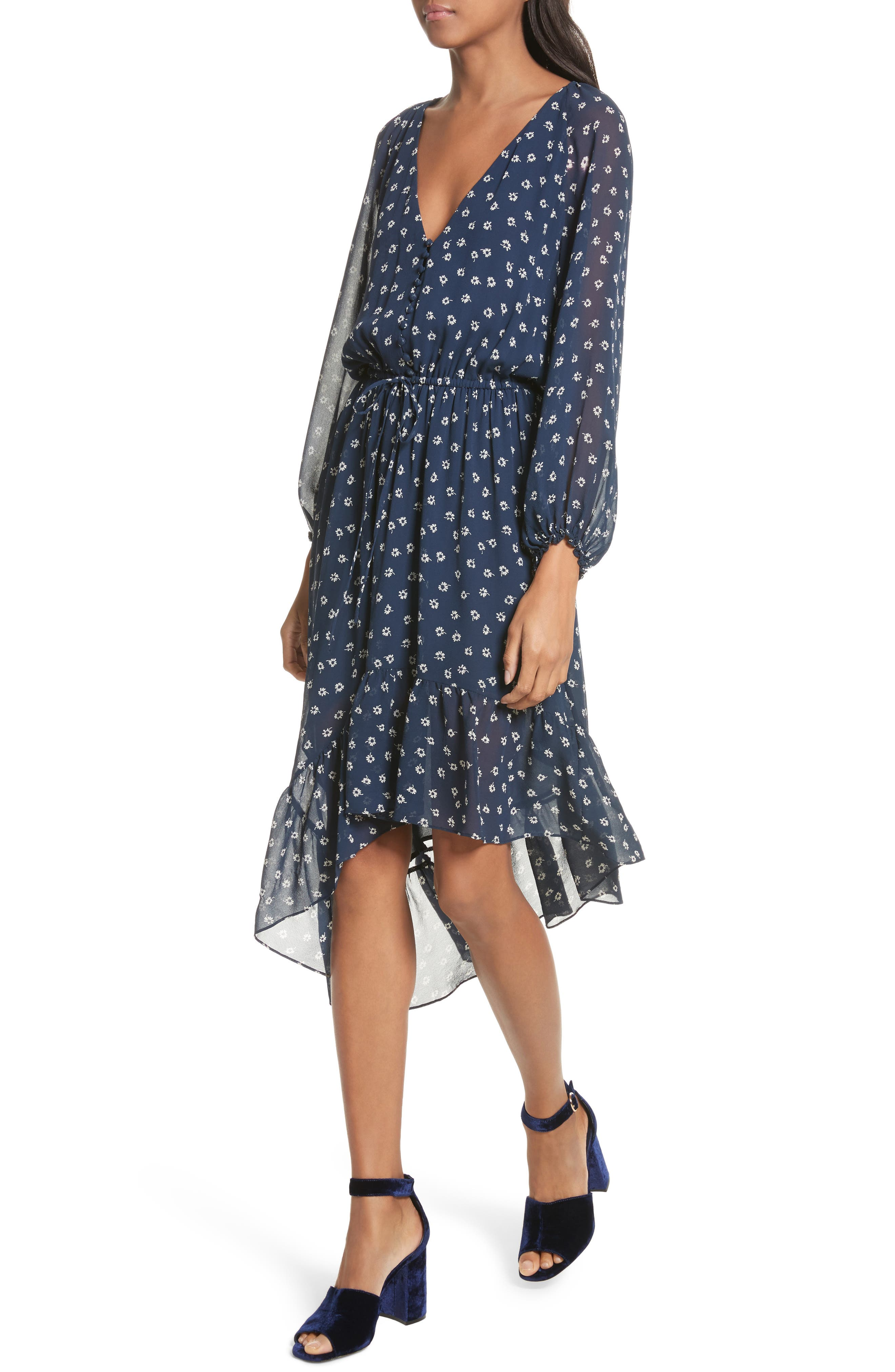 Alithea Print Silk Asymmetrical Dress,                             Alternate thumbnail 4, color,                             Dark Navy