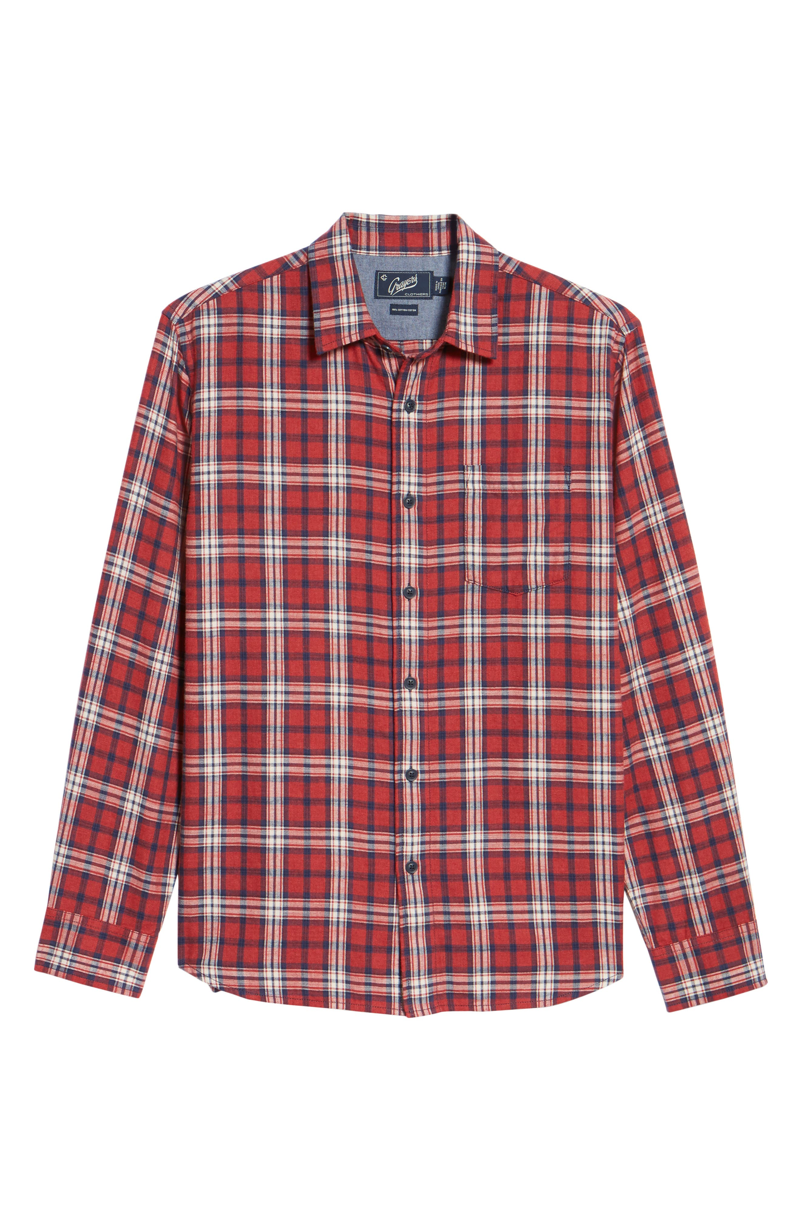 Winslow Slub Plaid Twill Sport Shirt,                             Alternate thumbnail 6, color,                             Red
