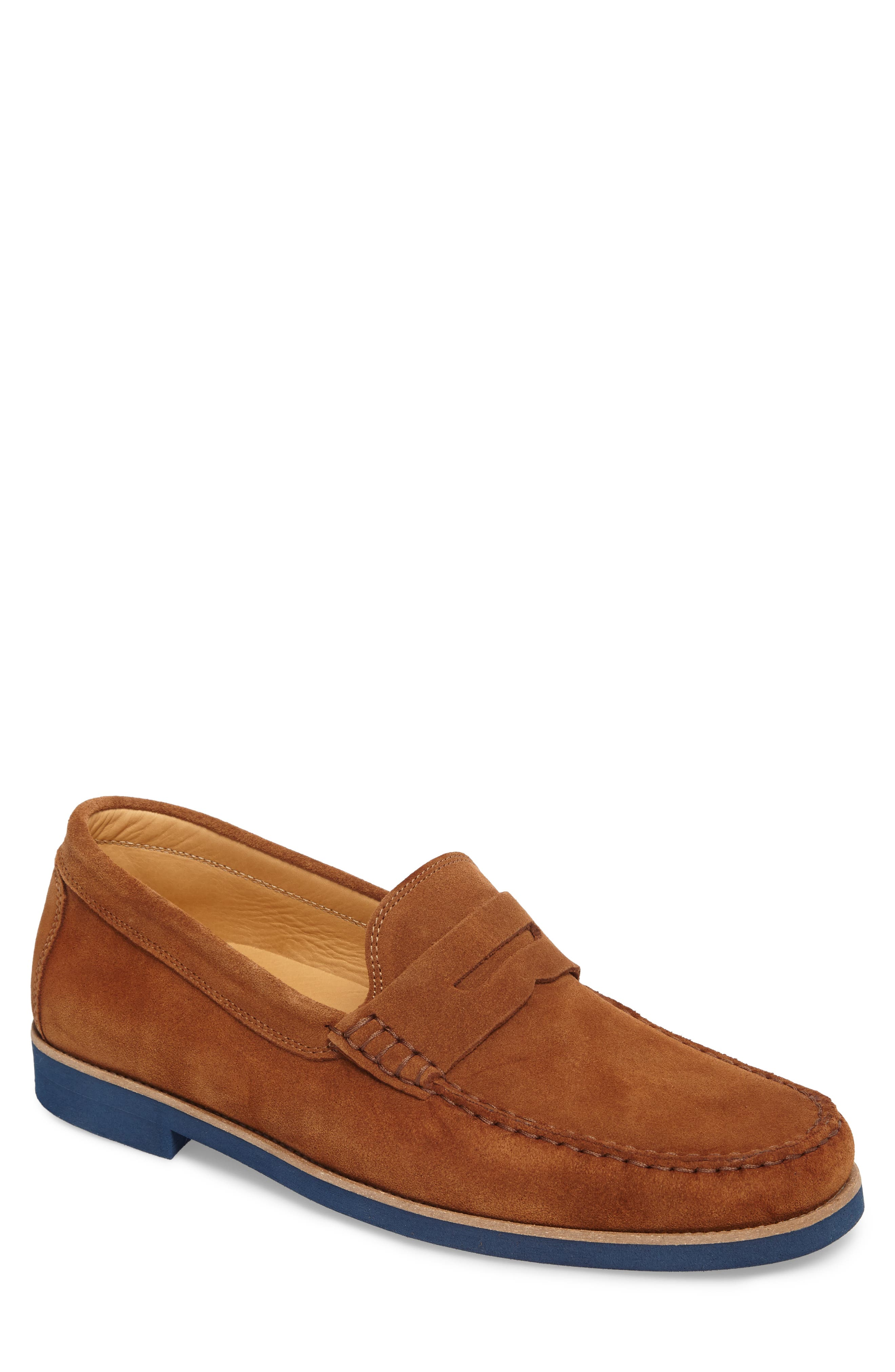 Kennedy Penny Loafer,                             Main thumbnail 1, color,                             Medium Brown Suede