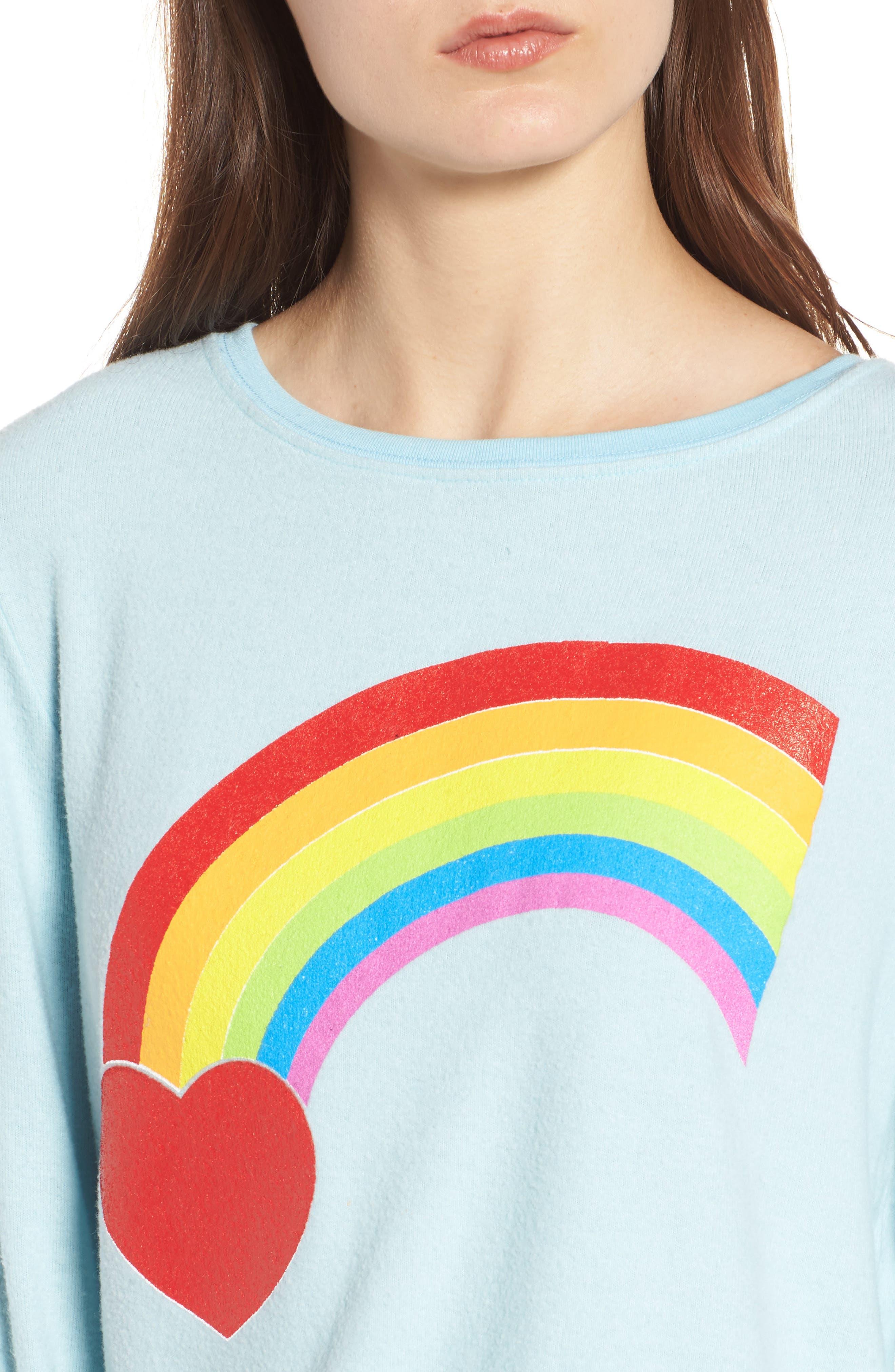 Rainbow Bright Sweatshirt,                             Alternate thumbnail 4, color,                             Honolulu Blue