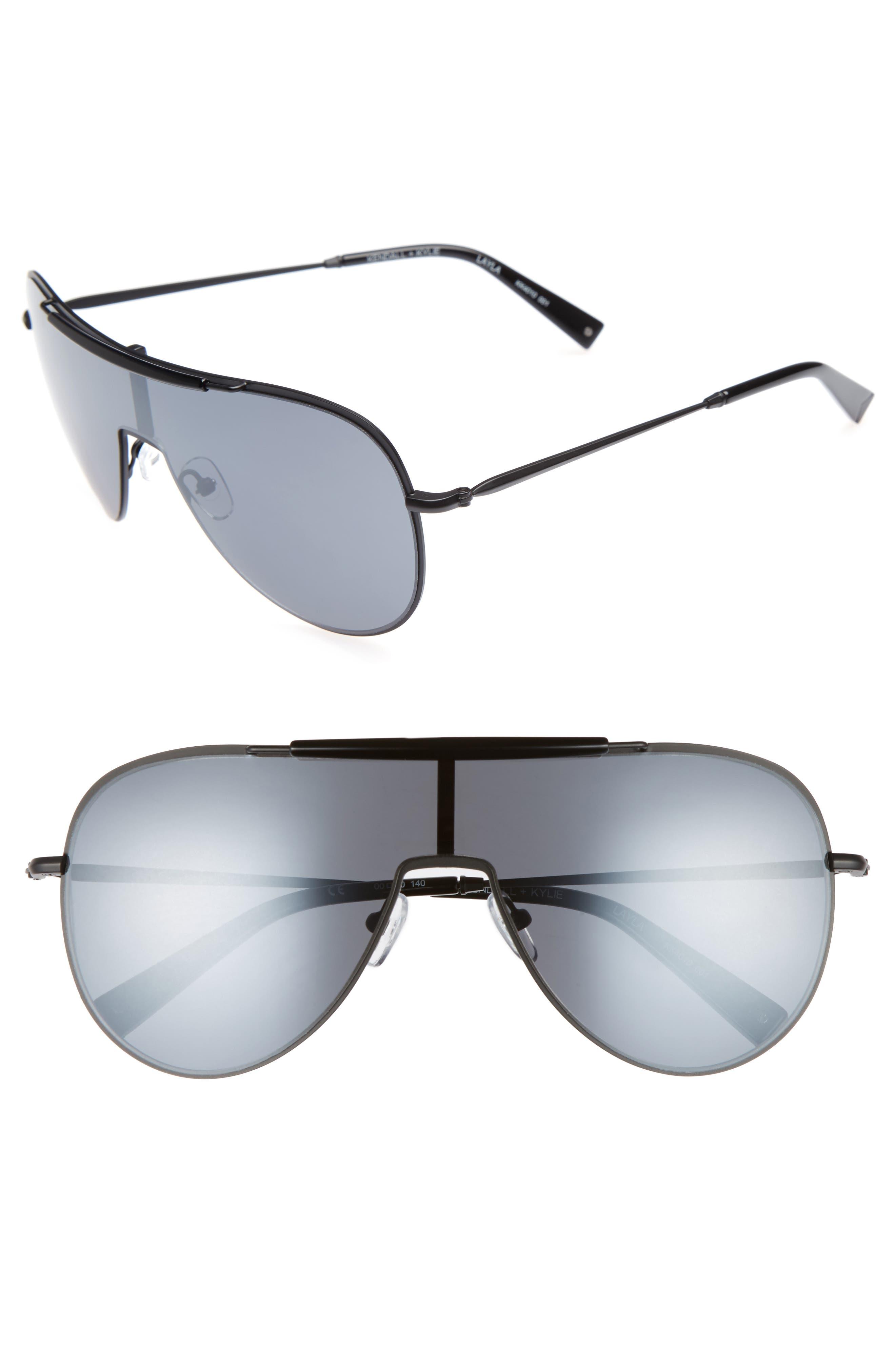 Shield Aviator Sunglasses,                             Main thumbnail 1, color,                             Black/ Black