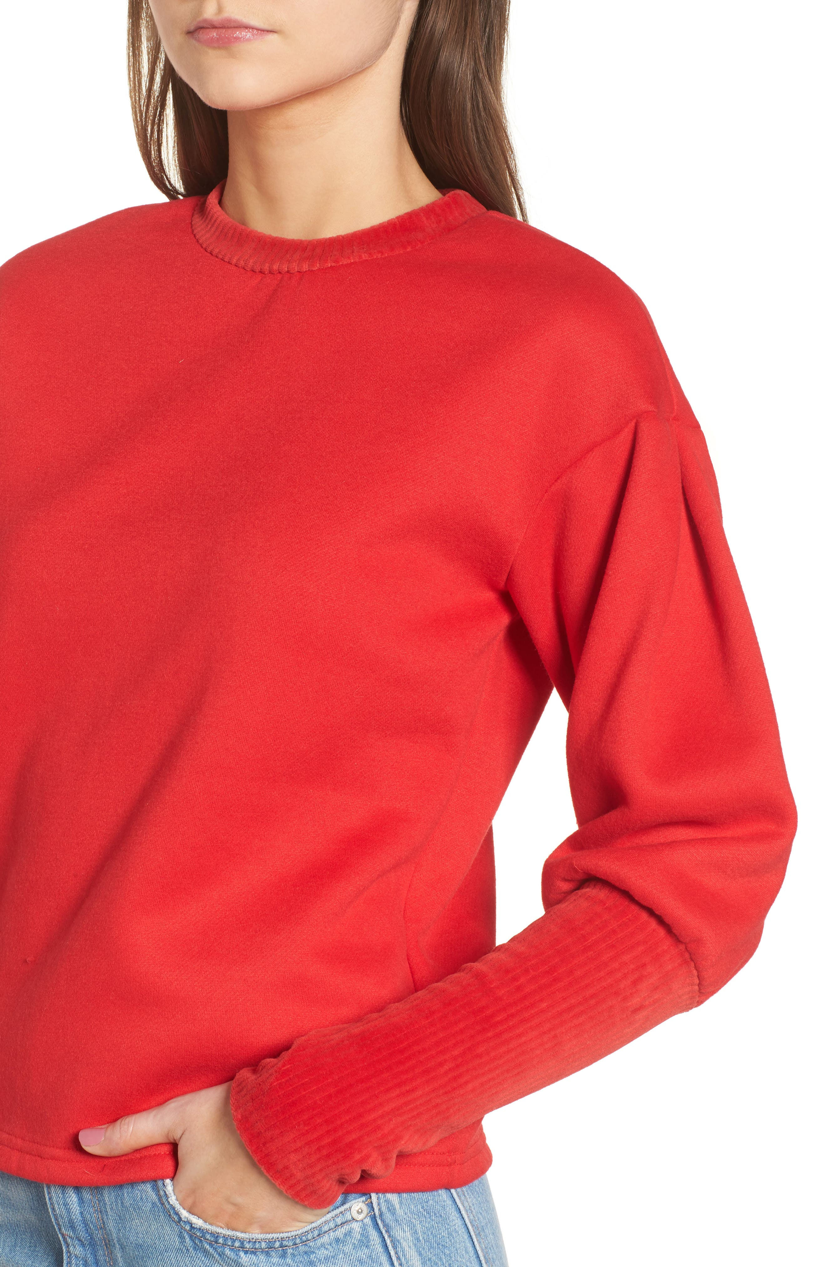 Rib Cuff Sweater,                             Alternate thumbnail 5, color,                             Red