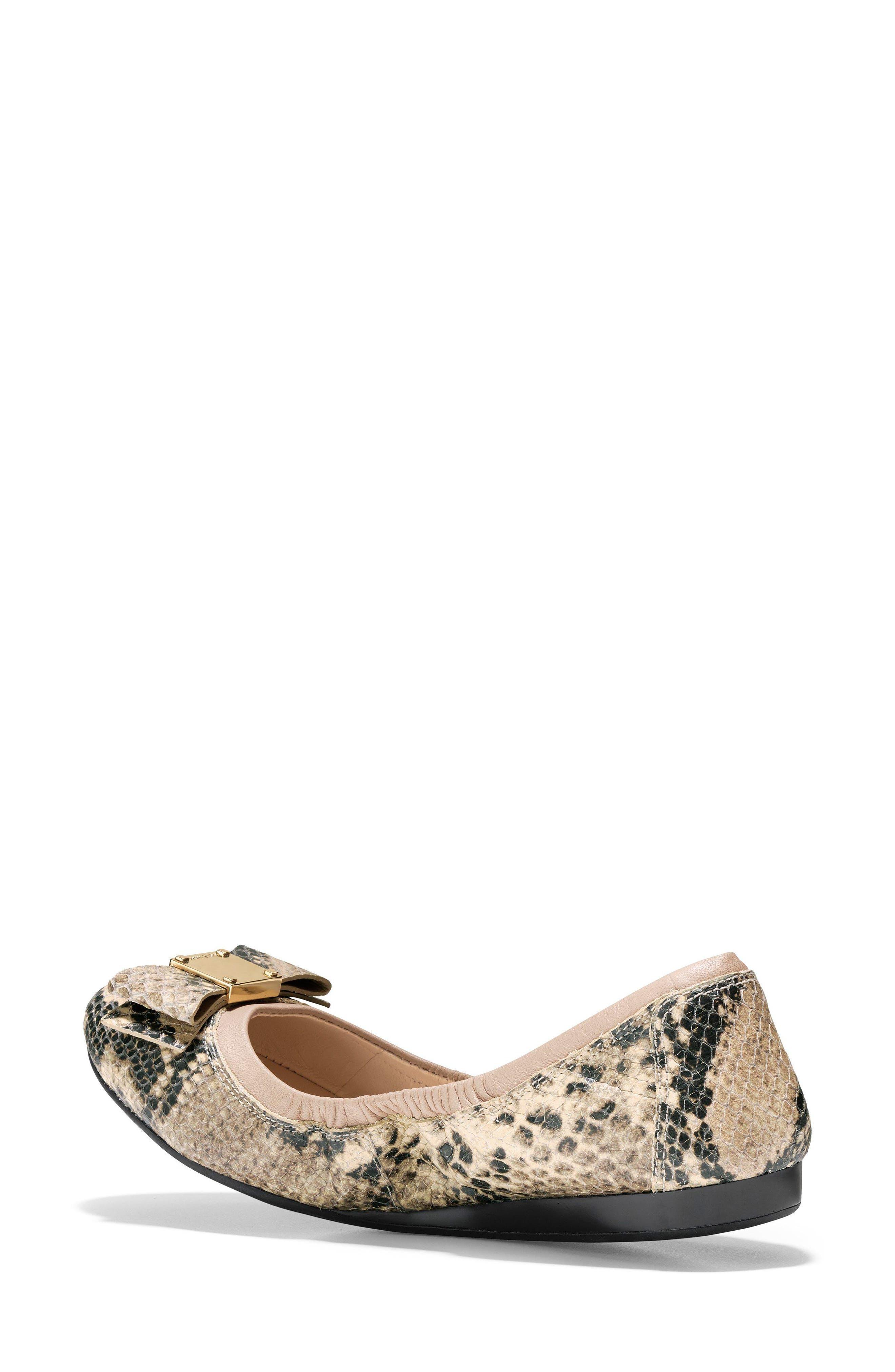 'Tali' Bow Ballet Flat,                             Alternate thumbnail 6, color,                             Roccia Snake Print Leather