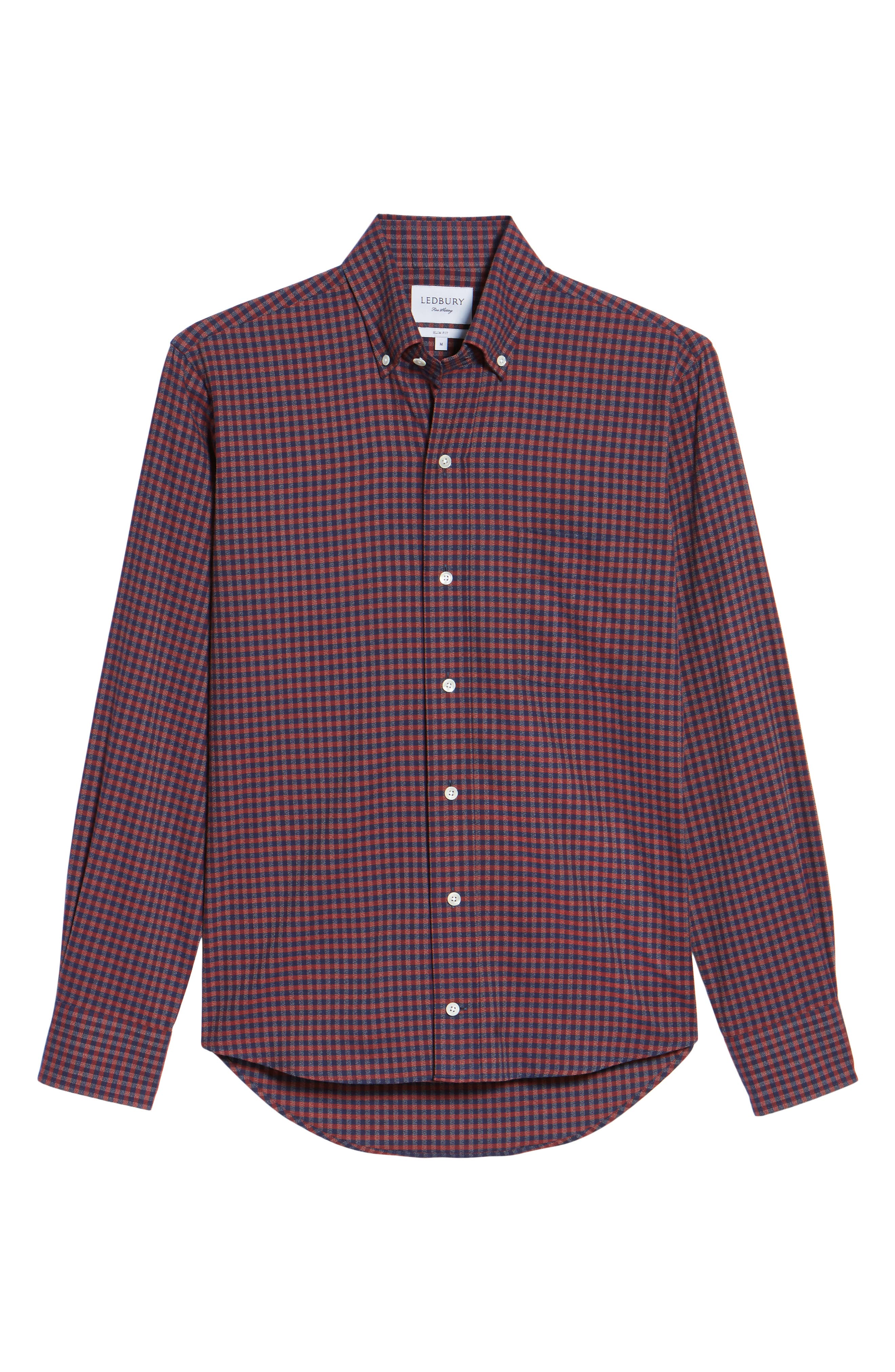 Slim Fit Check Sport Shirt,                             Alternate thumbnail 6, color,                             Red