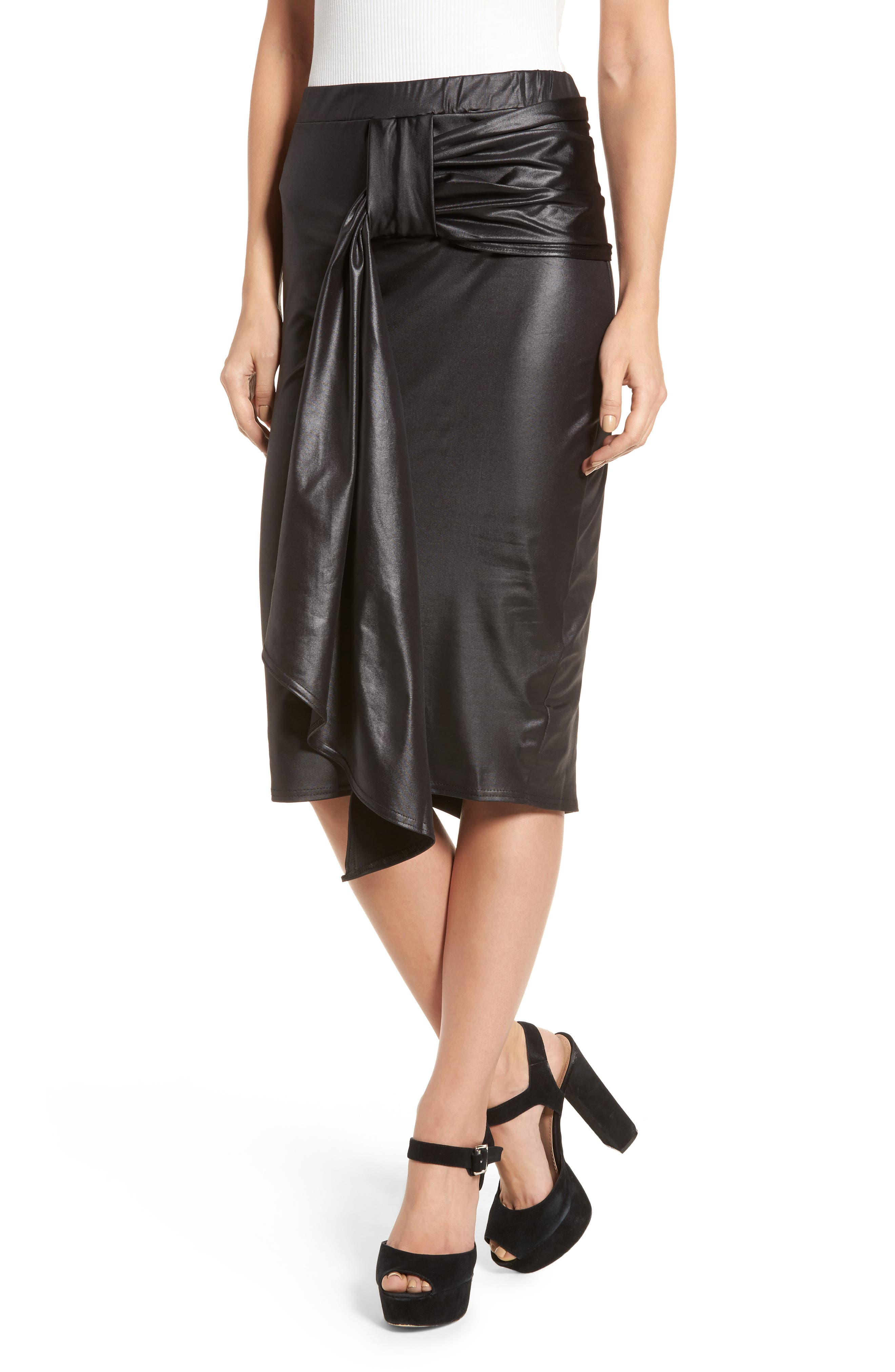 Coated Cocktail Skirt,                             Main thumbnail 1, color,                             Black