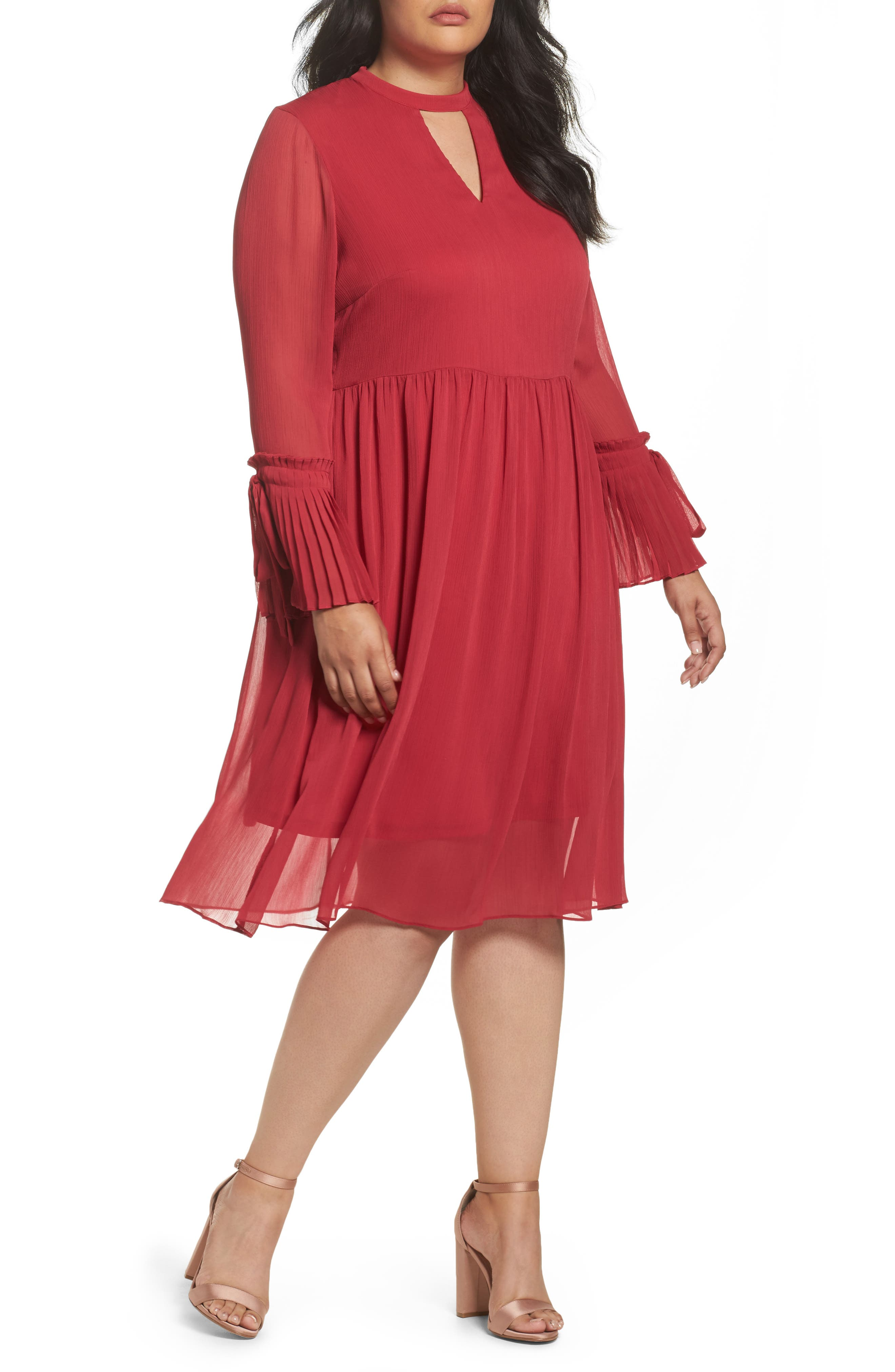 Pleat Cuff Fit & Flare Dress,                         Main,                         color, Pink