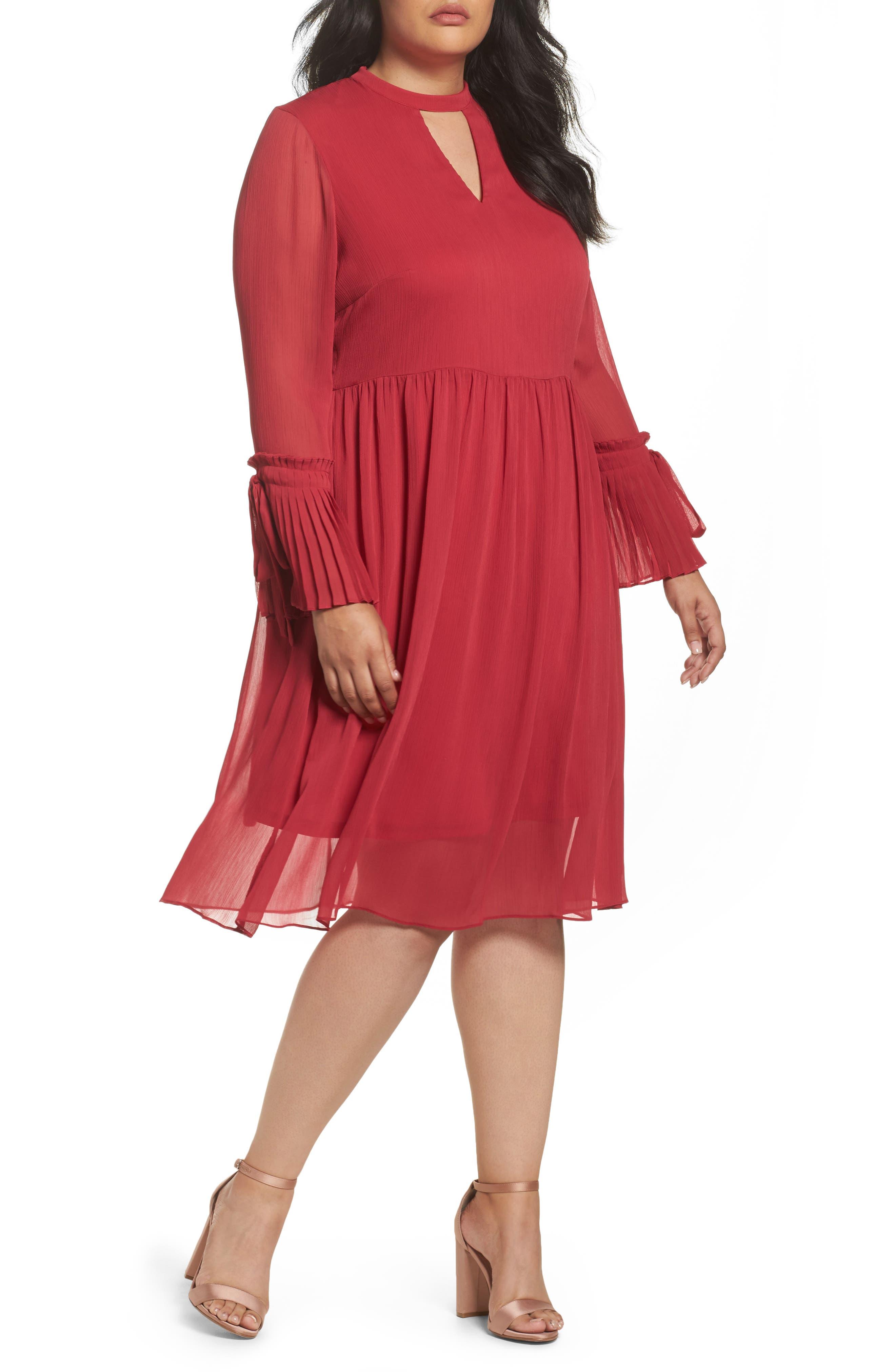 LOST INK Pleat Cuff Fit & Flare Dress (Plus Size)