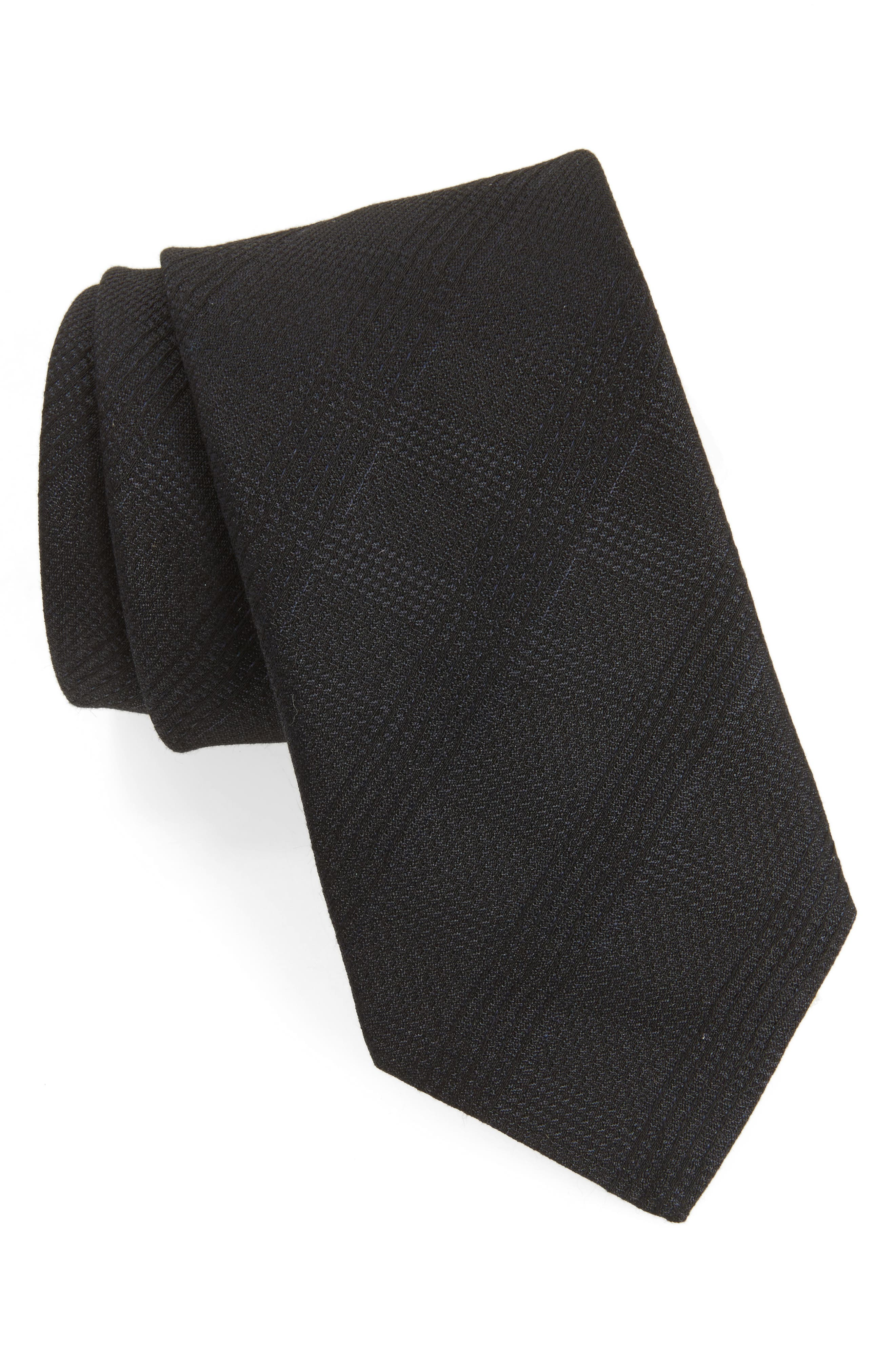 Check Weave Tie,                             Main thumbnail 1, color,                             Black