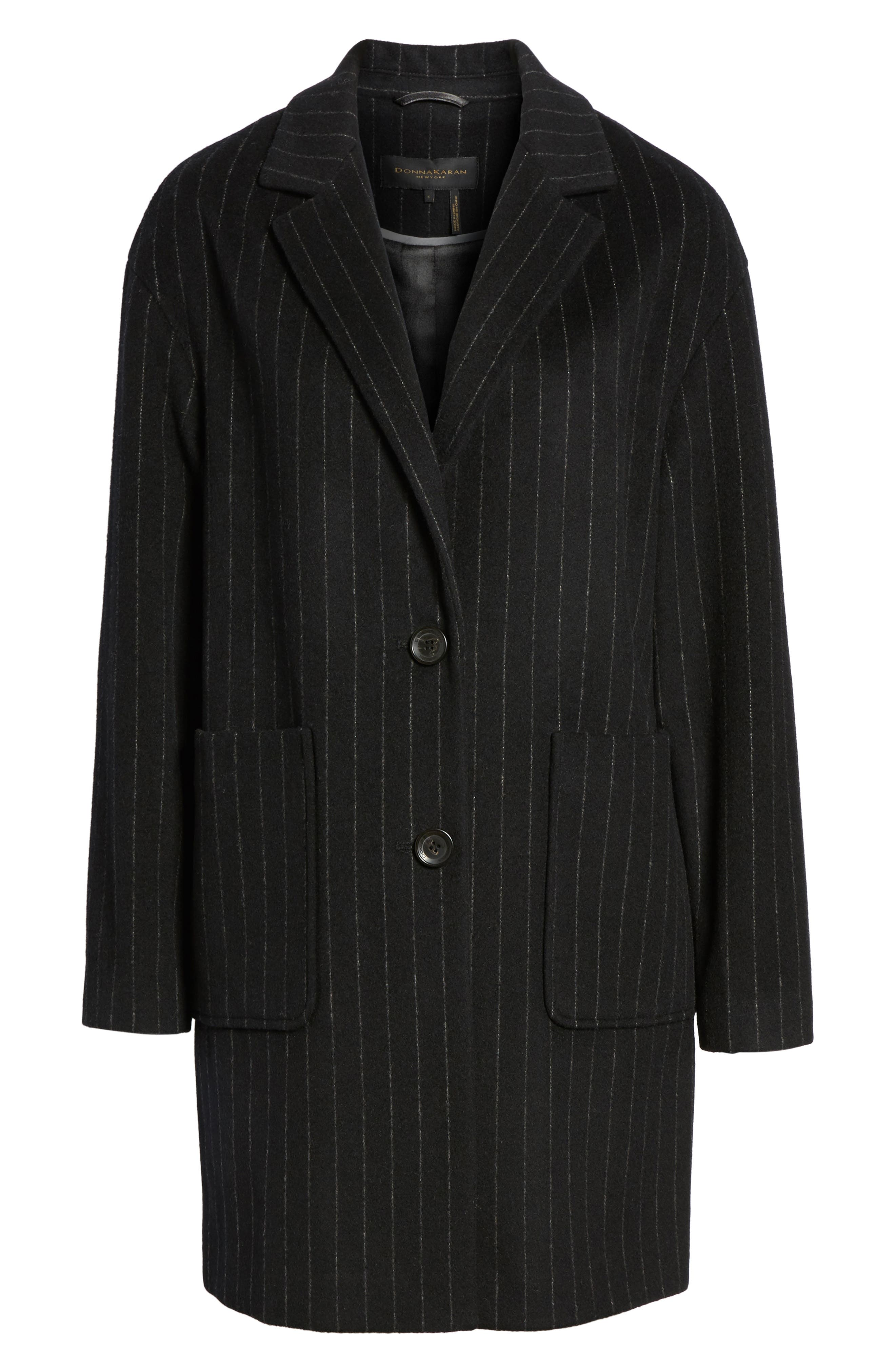 DKNY Pinstripe Wool Blend Coat,                             Alternate thumbnail 6, color,                             Black