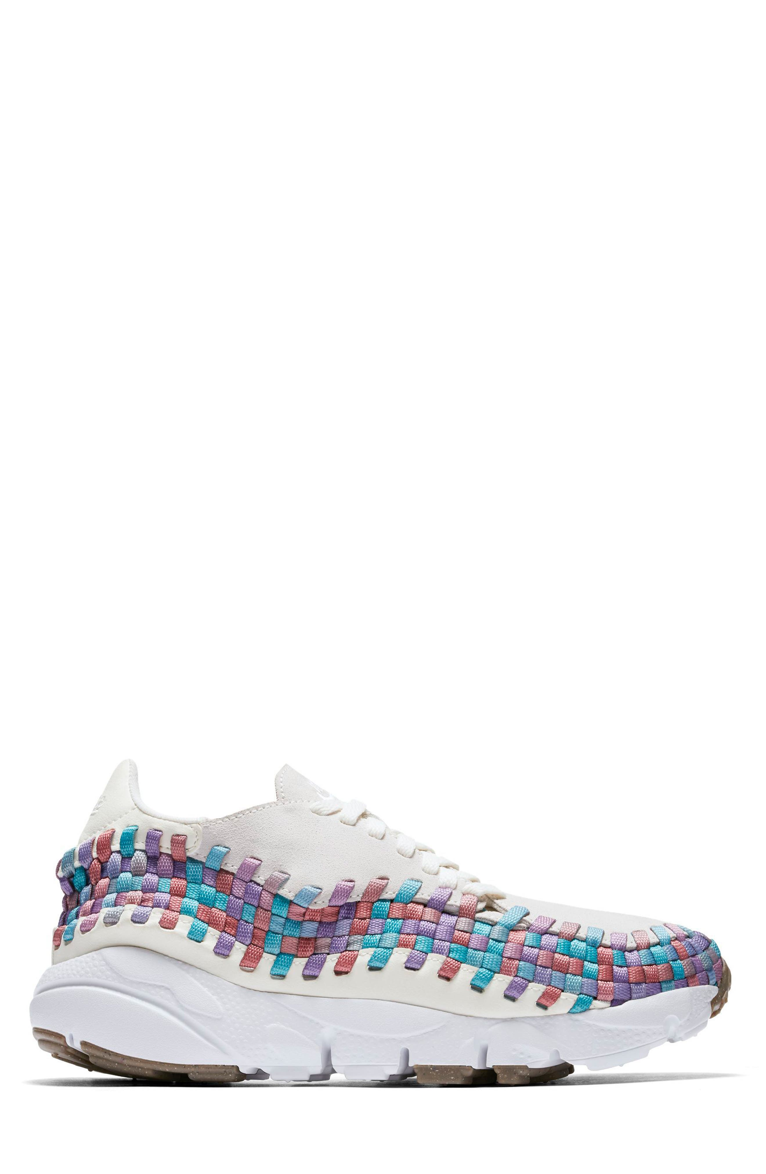 Air Footscape Woven Sneaker,                             Alternate thumbnail 3, color,                             Sail/ White/ Red/ Teal/ Gum