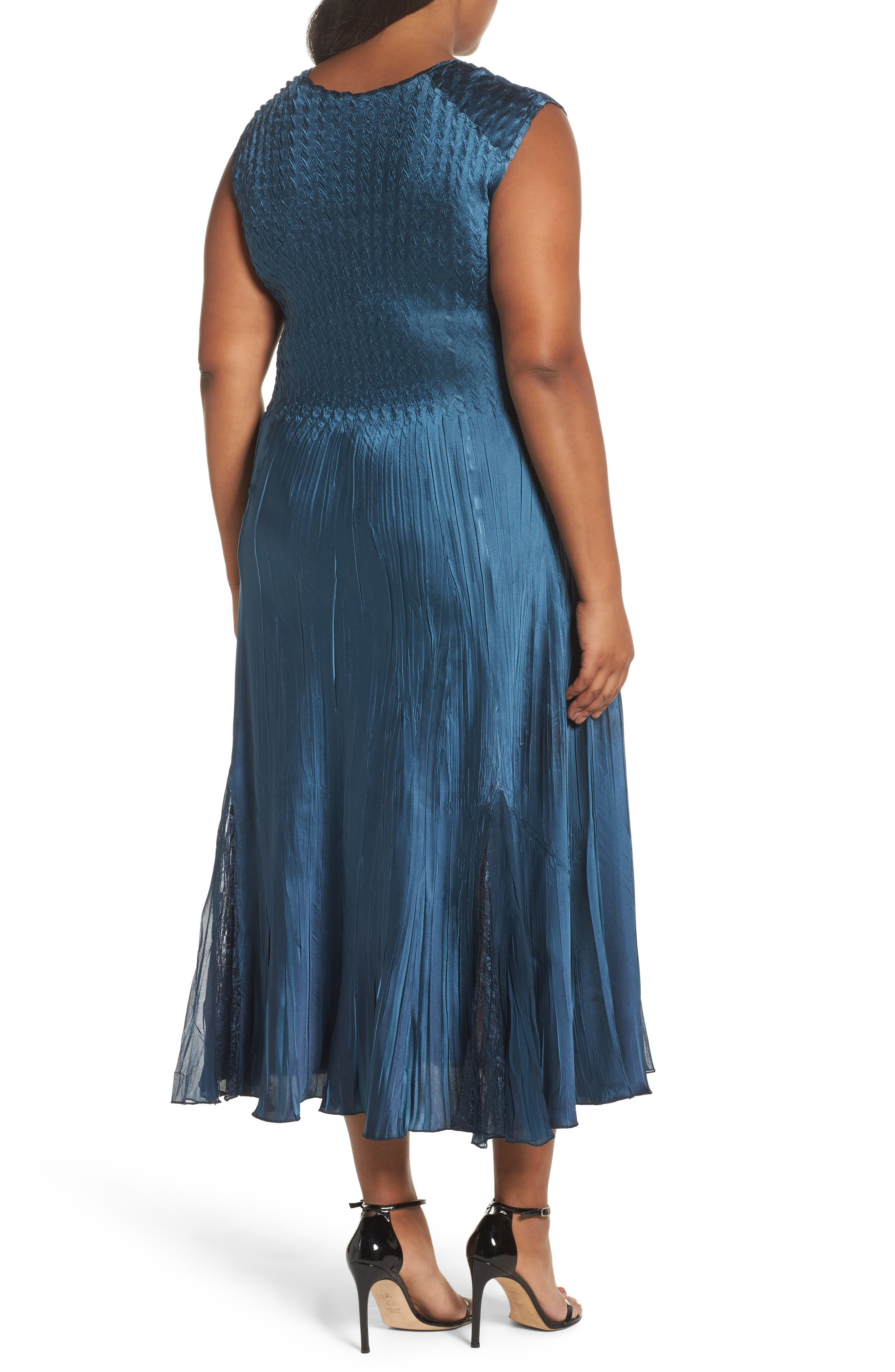 Lace Front Dress with Jacket,                             Alternate thumbnail 4, color,                             Moroccan Blue Ombre