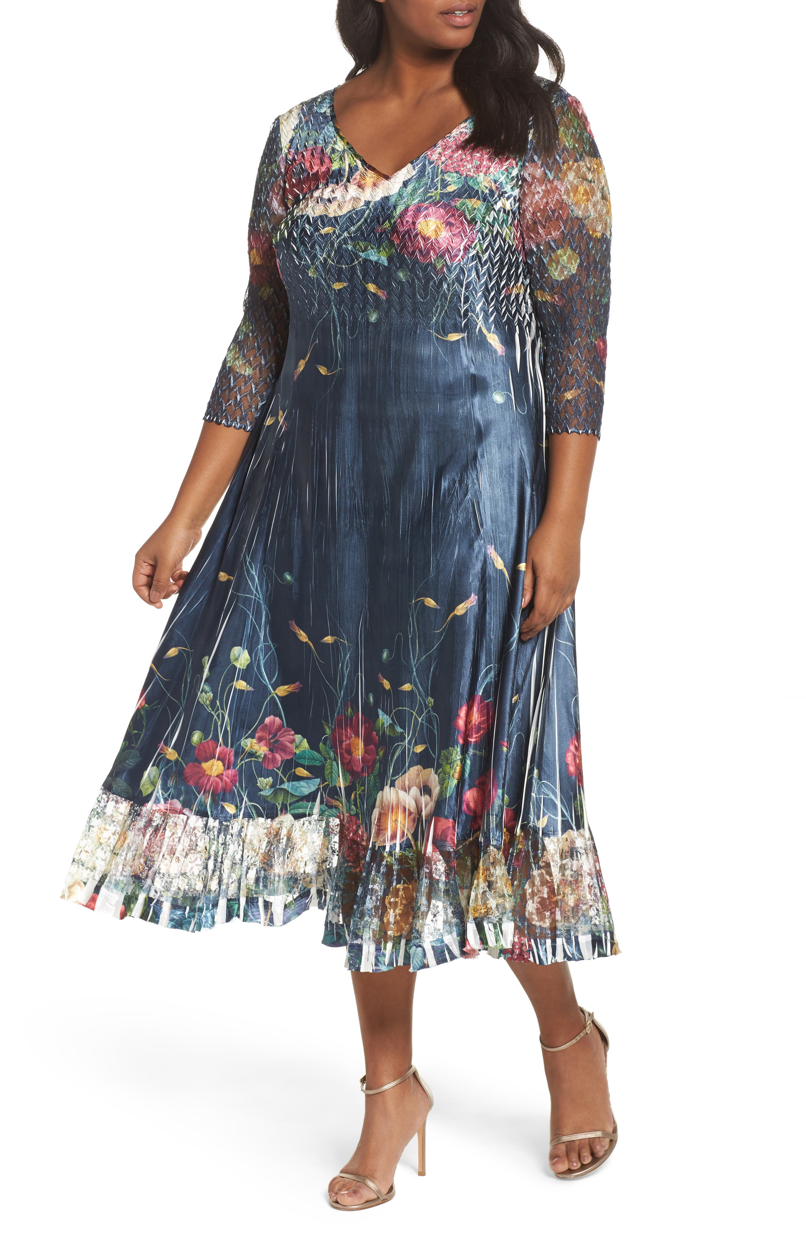 Floral V-Neck Charmeuse Midi Dress,                         Main,                         color, Midnight Trellis