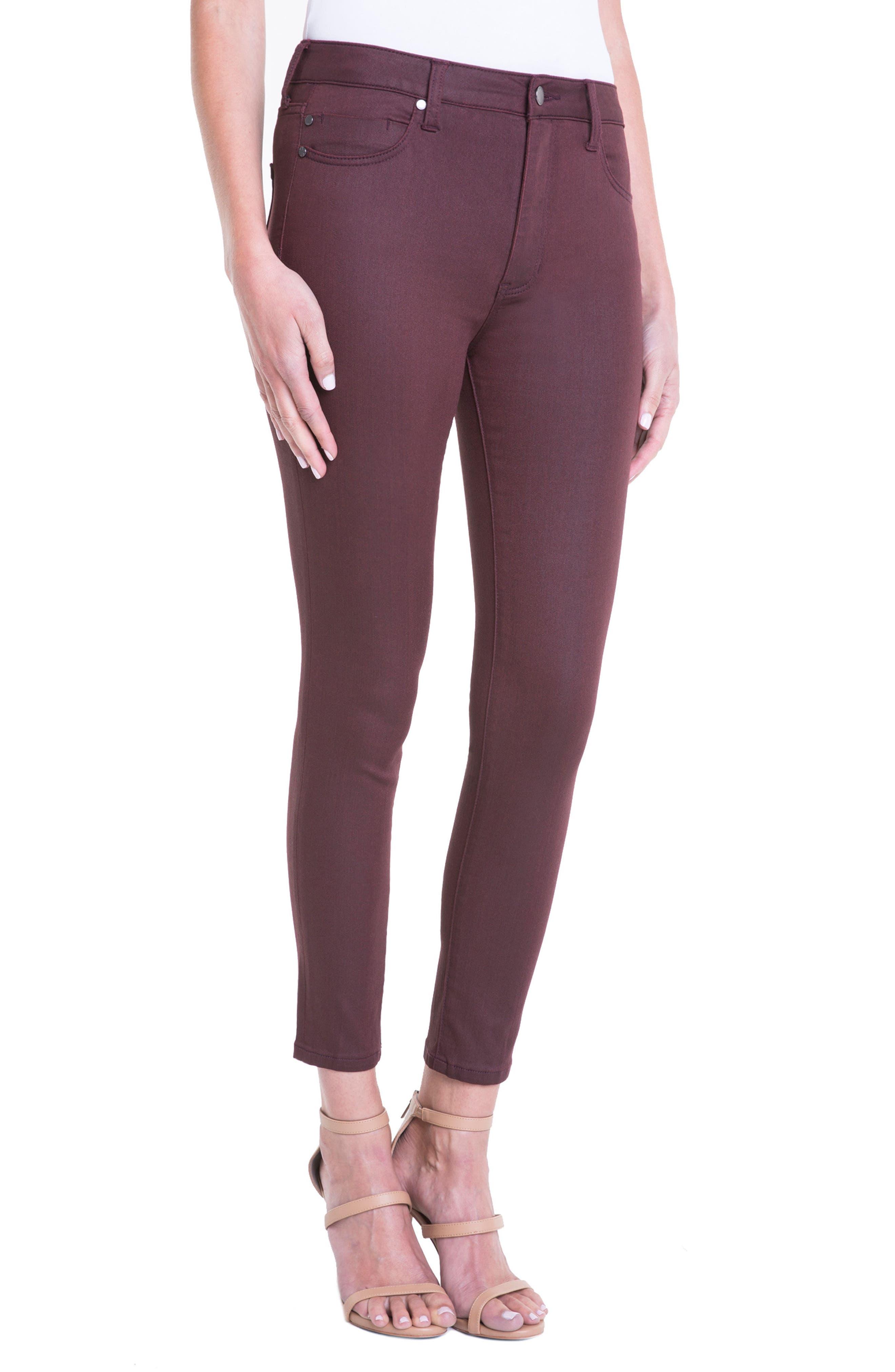 Bridget Coated High Waist Skinny Jeans,                             Alternate thumbnail 3, color,                             Malbec