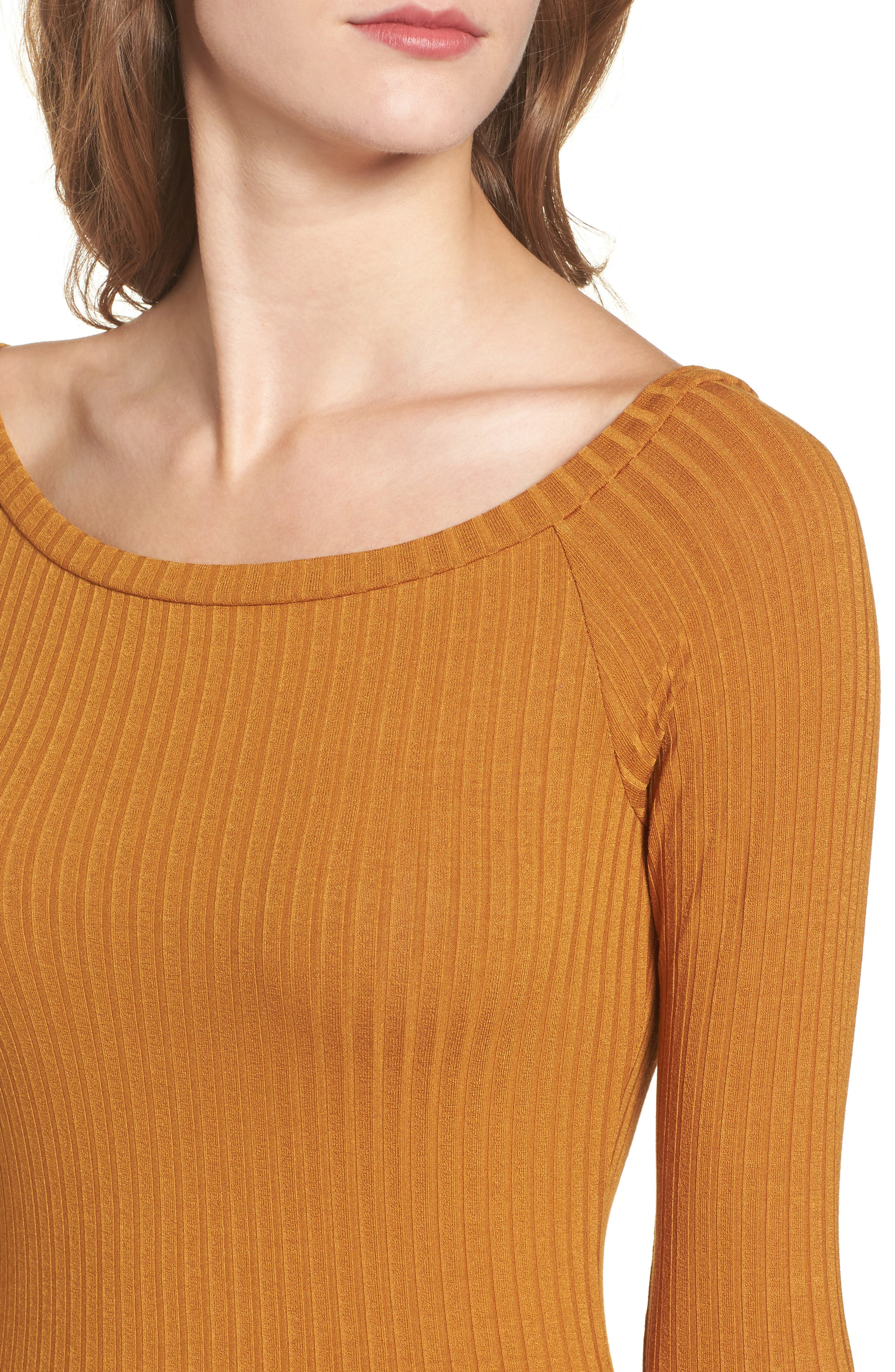 Bell Sleeve Ribbed Top,                             Alternate thumbnail 4, color,                             Mustard