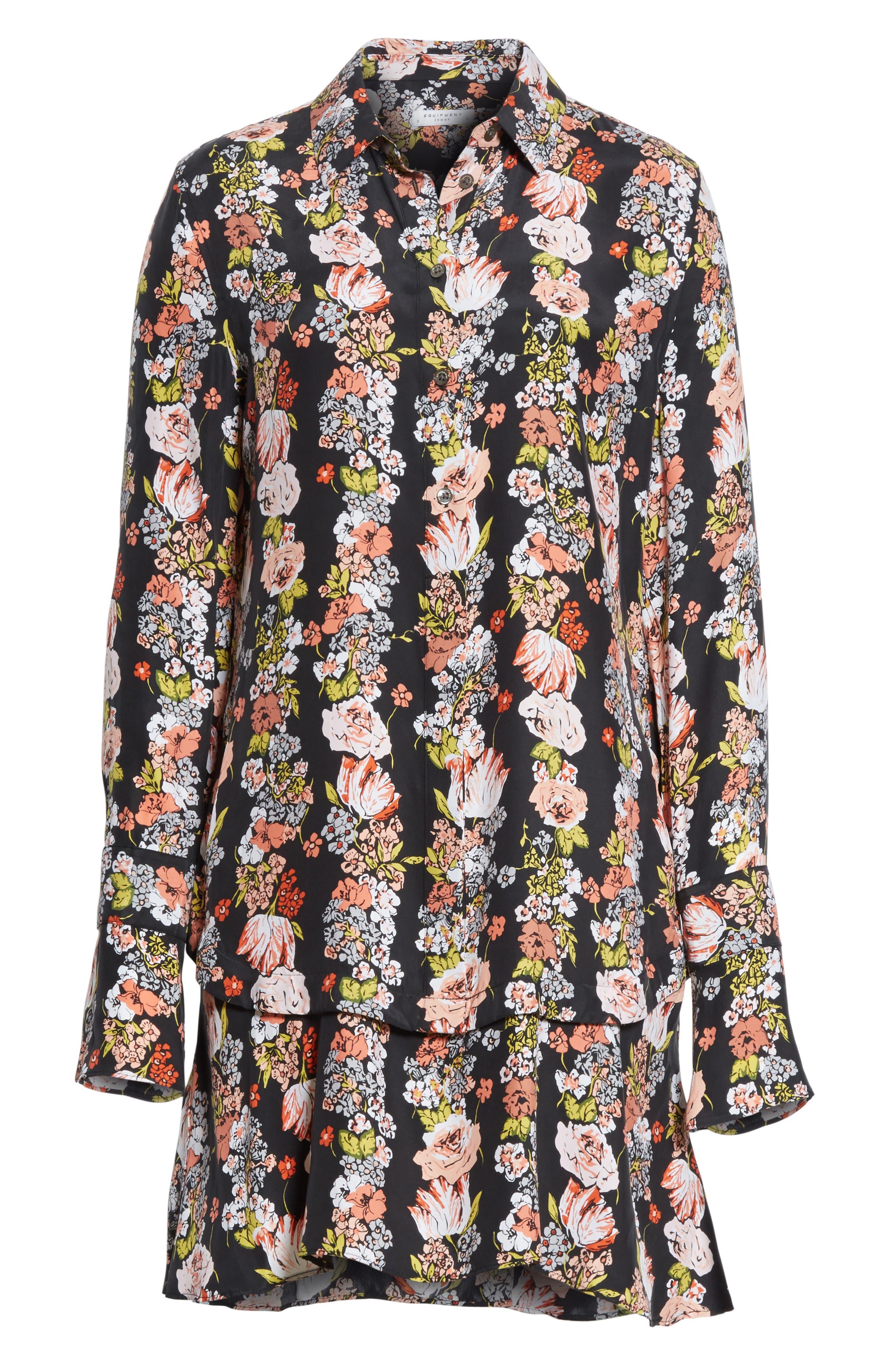 Daphne Silk Shirtdress,                             Alternate thumbnail 6, color,                             True Black Multi