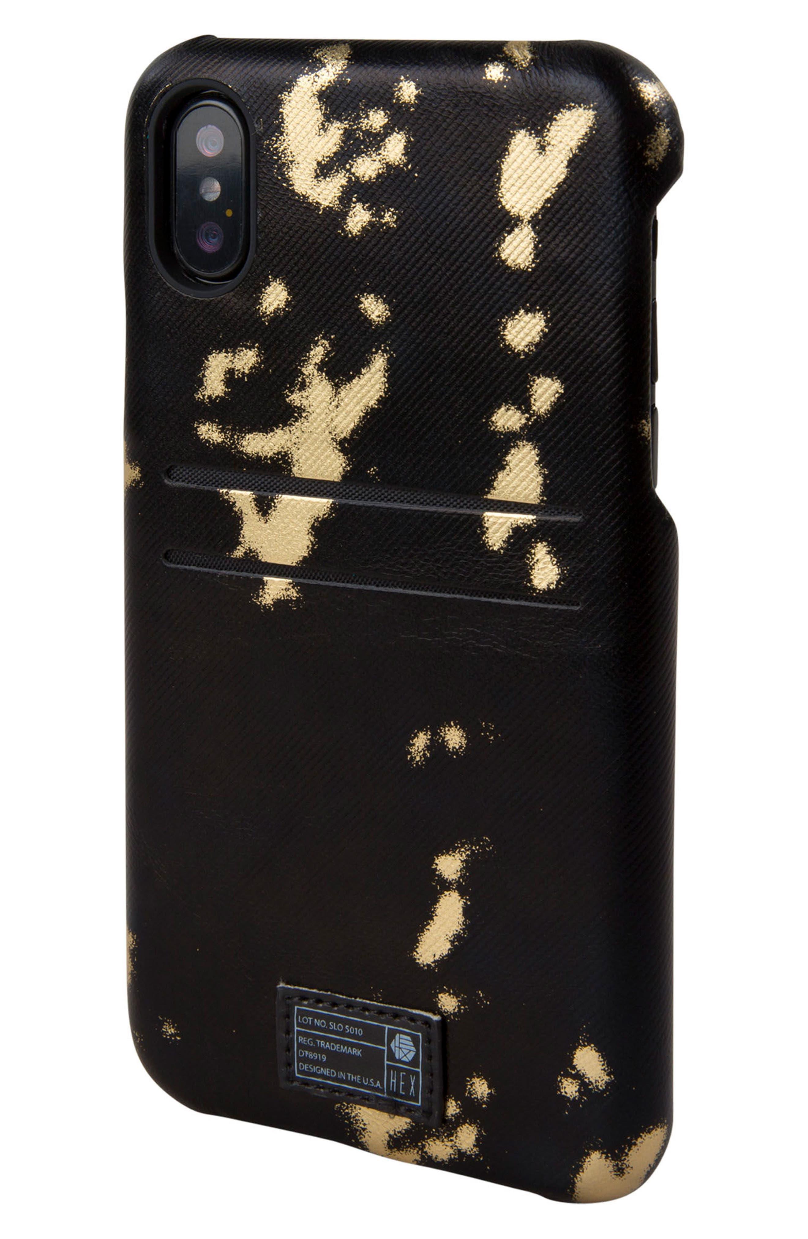 Solo iPhone X Wallet Case,                             Main thumbnail 1, color,                             Black/ Gold