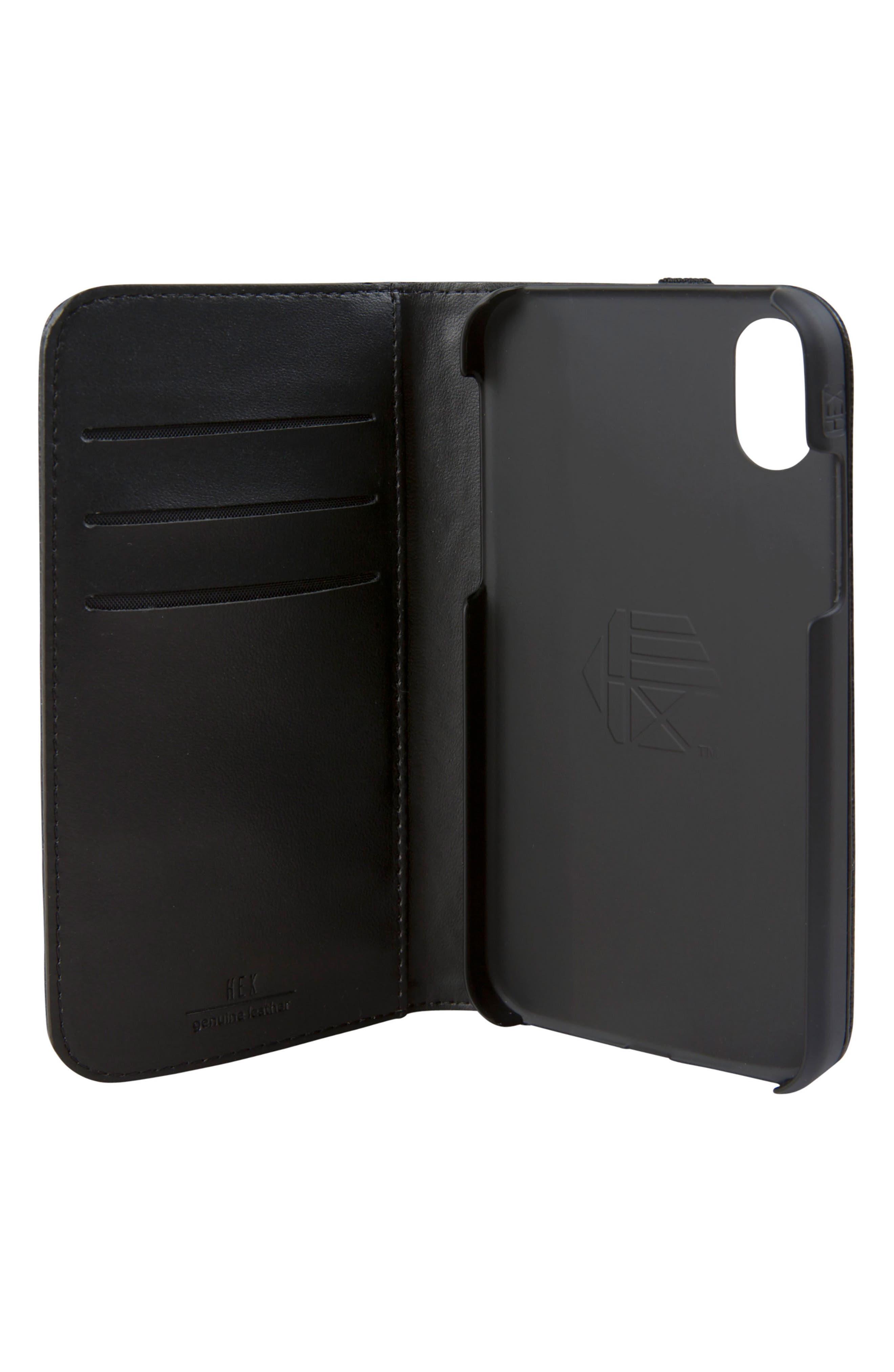 Icon iPhone X Wallet Case,                             Alternate thumbnail 2, color,                             Black/ Gold