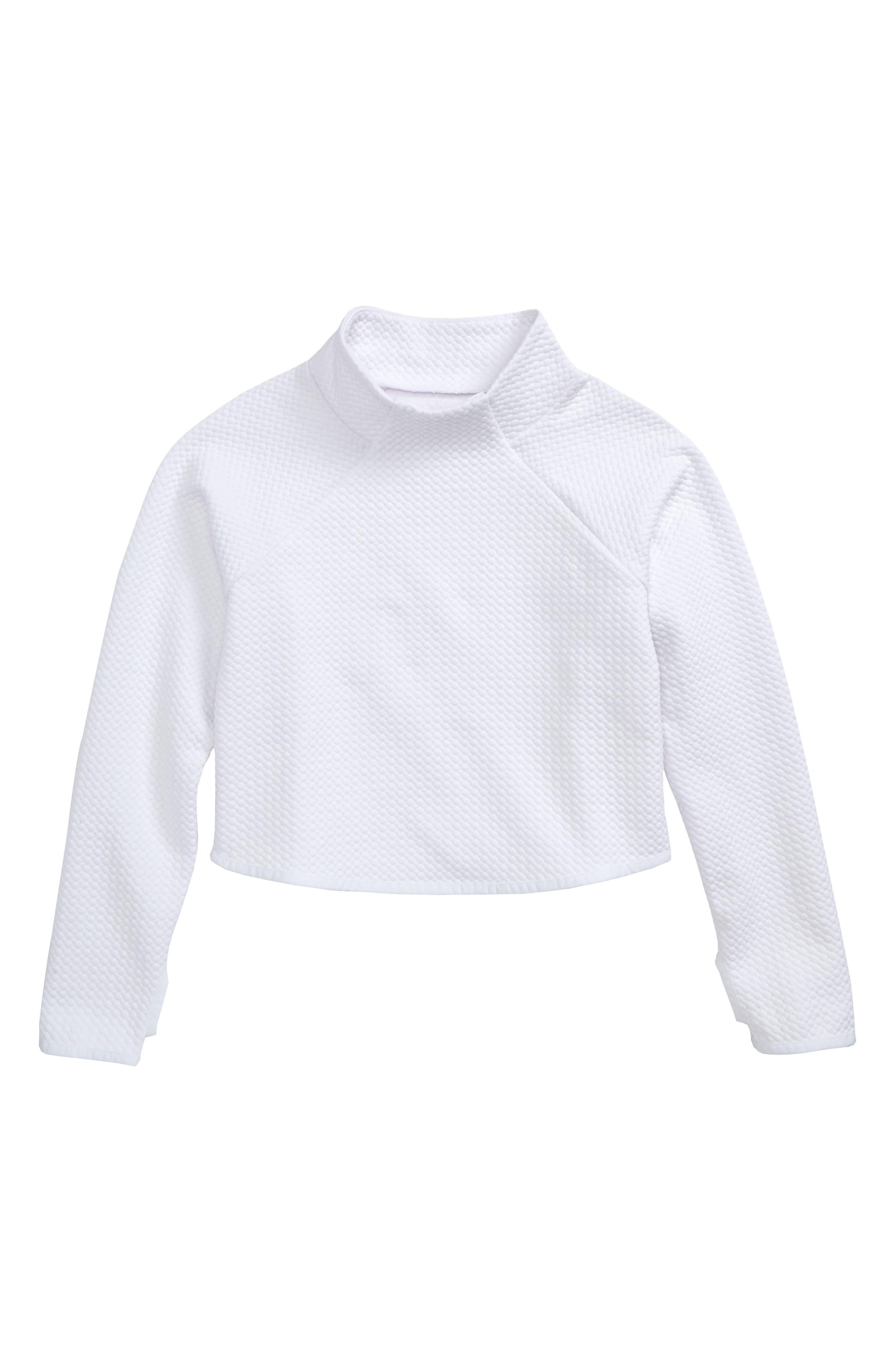 Mock Neck Scuba Sweatshirt,                             Main thumbnail 1, color,                             White