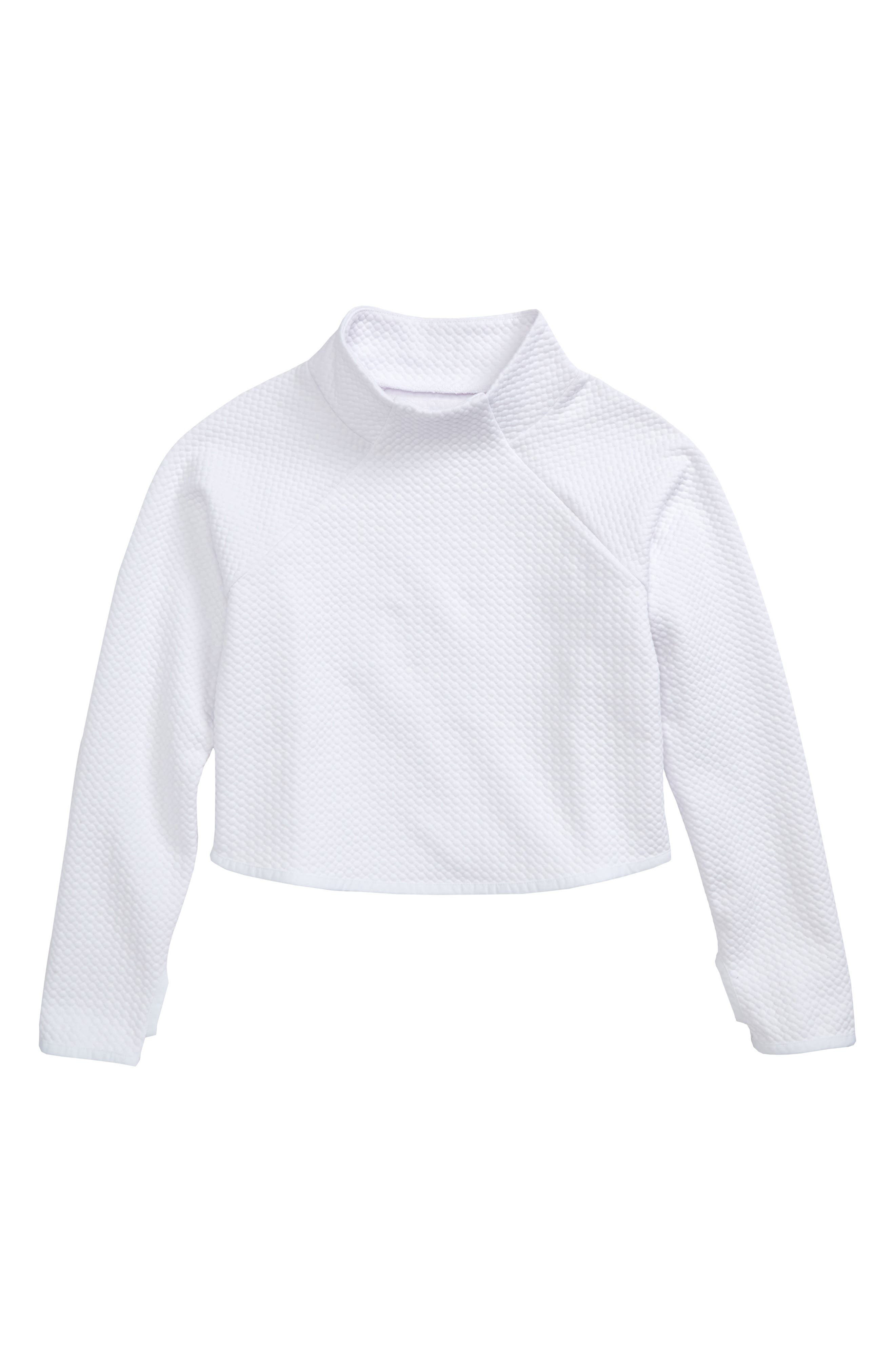 Mock Neck Scuba Sweatshirt,                         Main,                         color, White