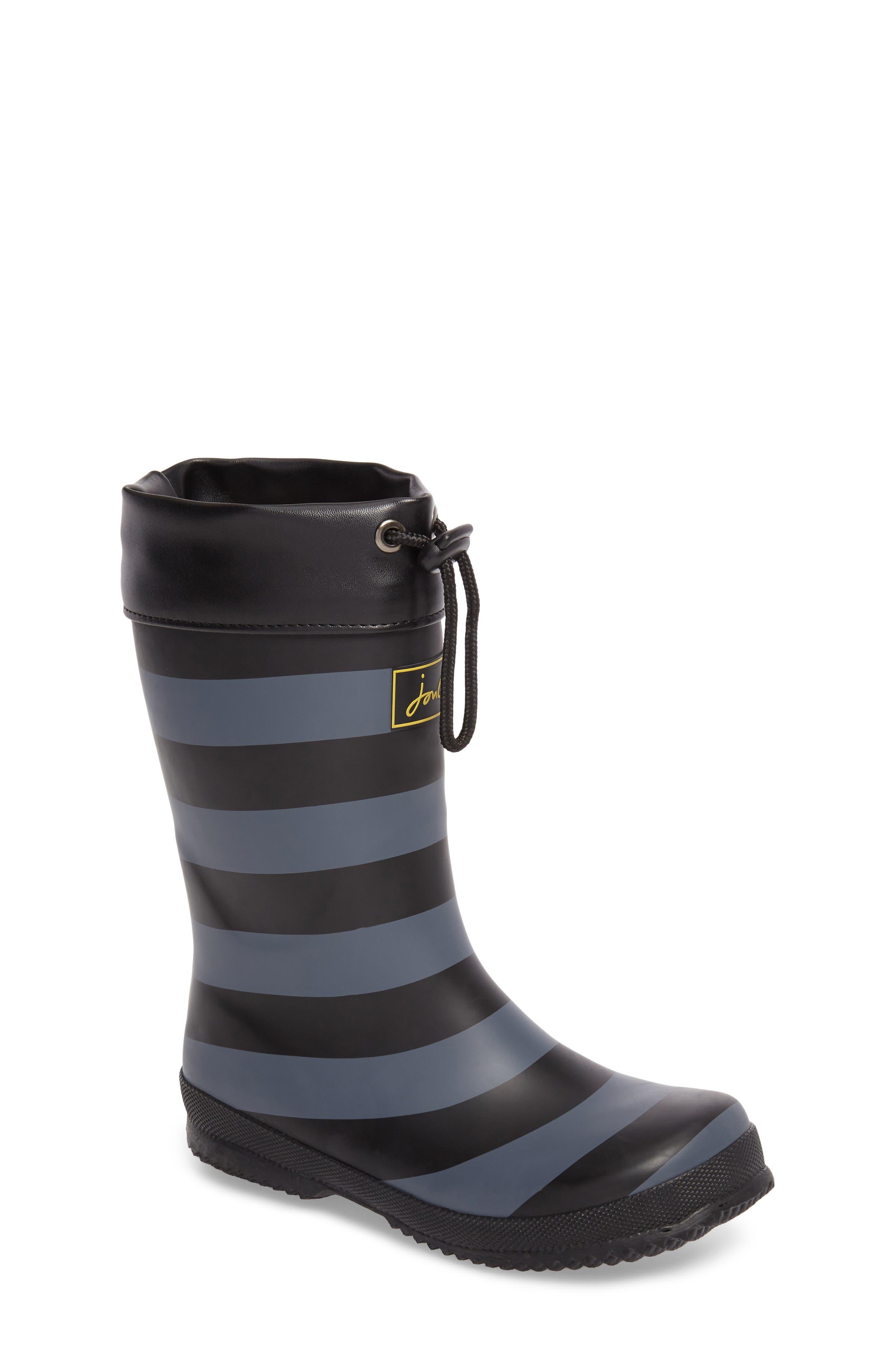 Winter Waterproof Rain Boot,                             Main thumbnail 1, color,                             Black Stripe