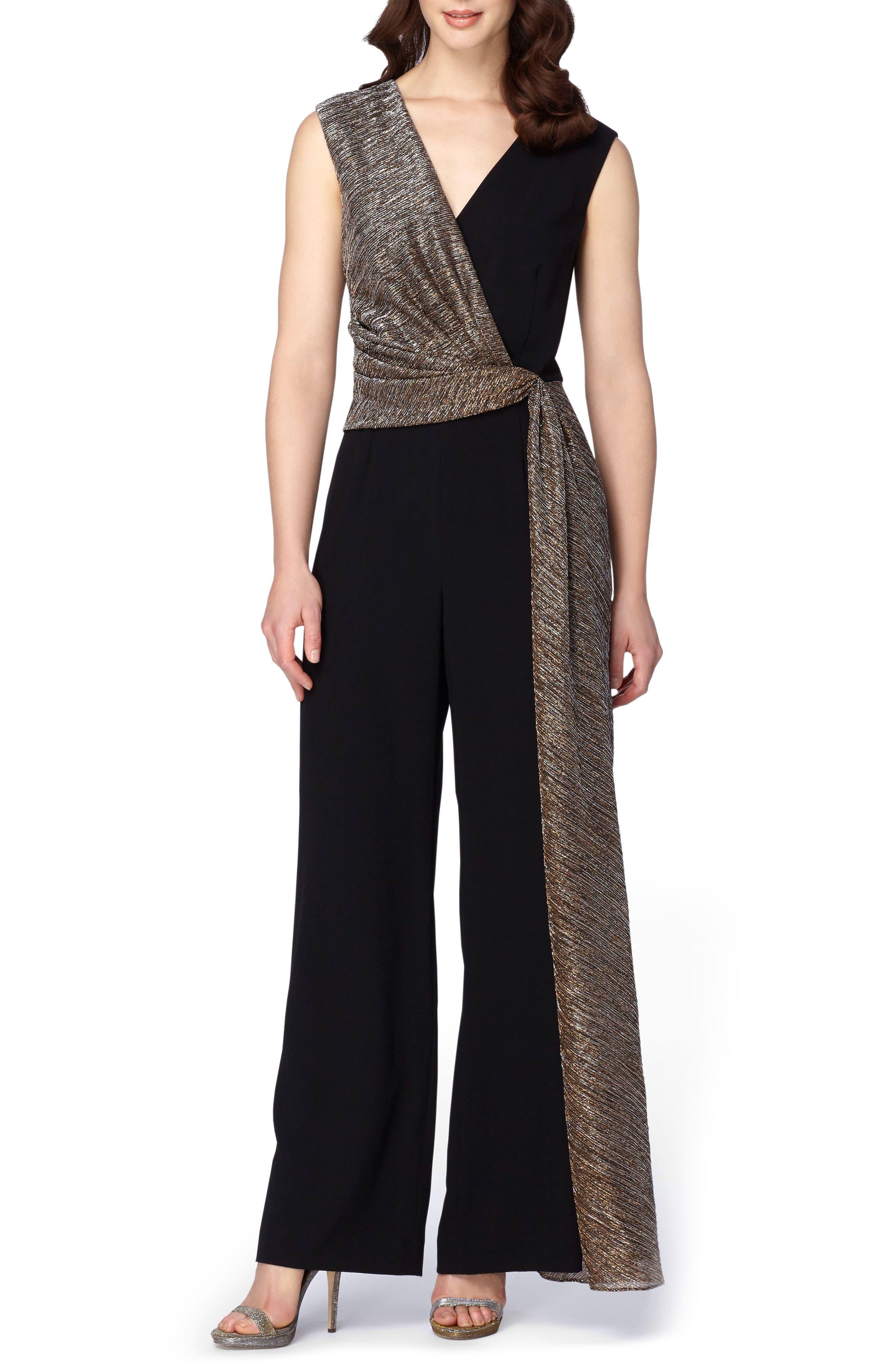 Metallic Faux Wrap Jumpsuit,                         Main,                         color, Black/ Gold