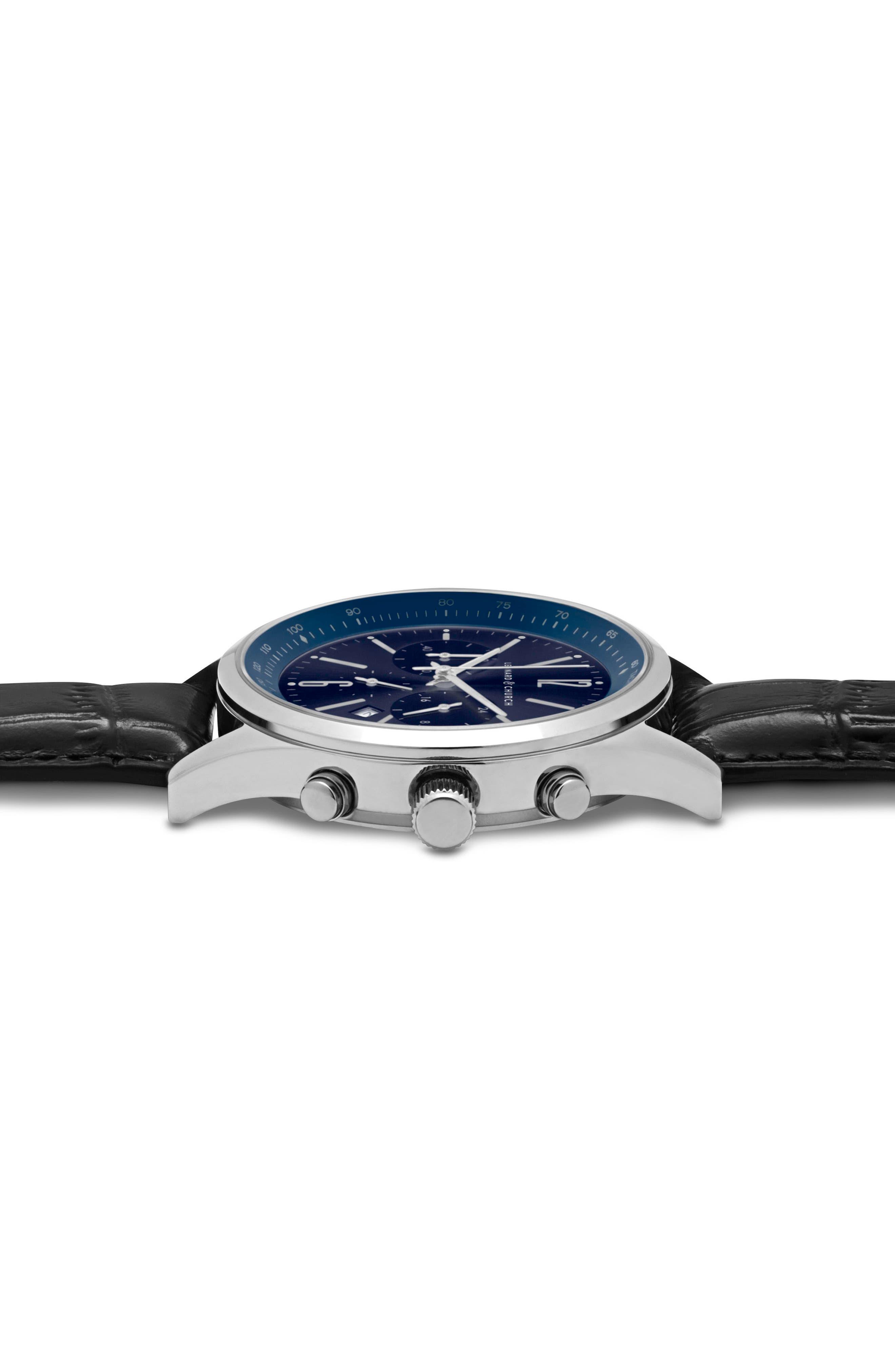 Leonard & Church Barclay Chronograph Leather Strap Watch, 43mm,                             Alternate thumbnail 7, color,                             Black/ Blue/ Silver