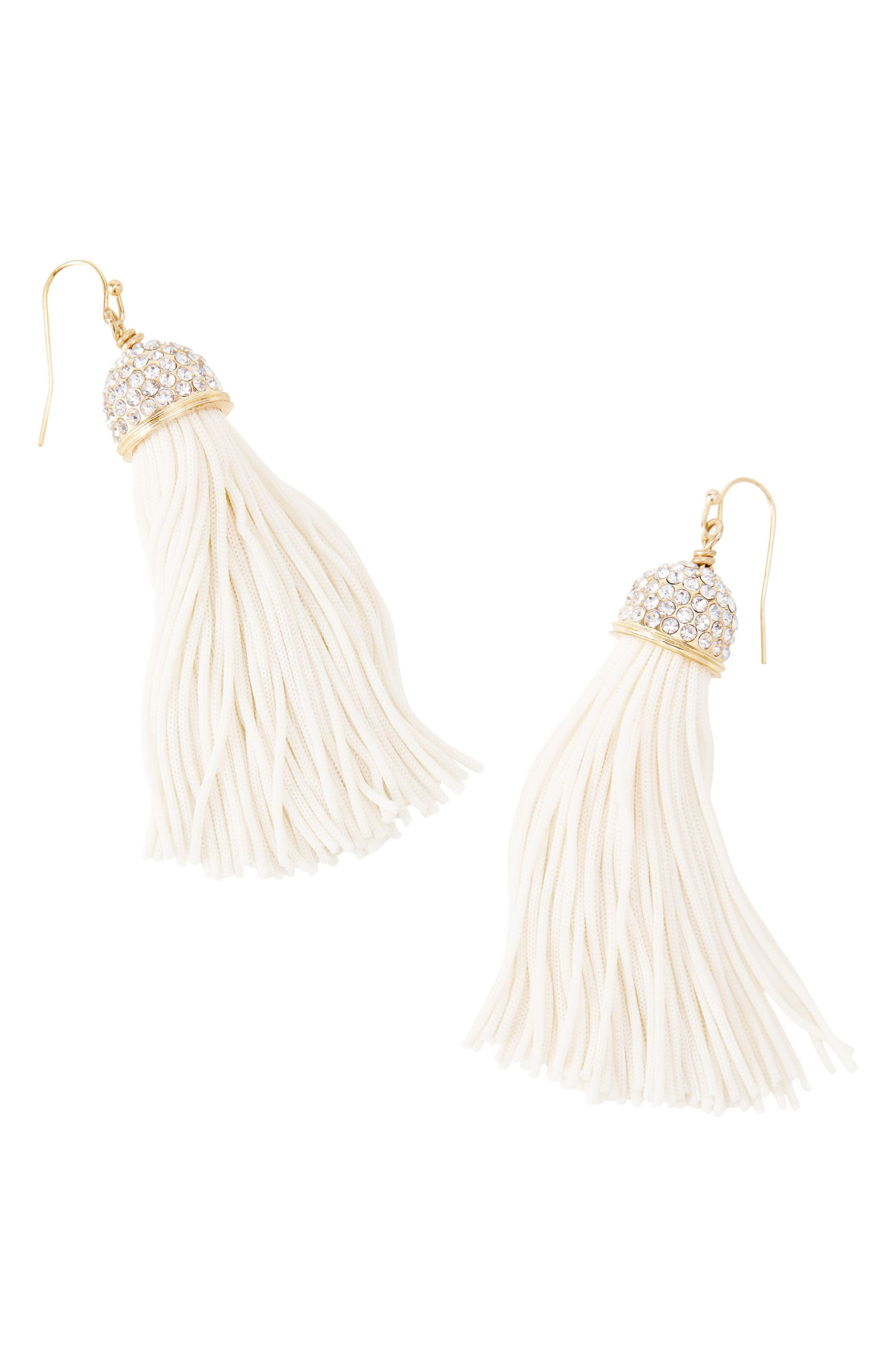 Tassel Drop Earrings,                         Main,                         color, Resort White