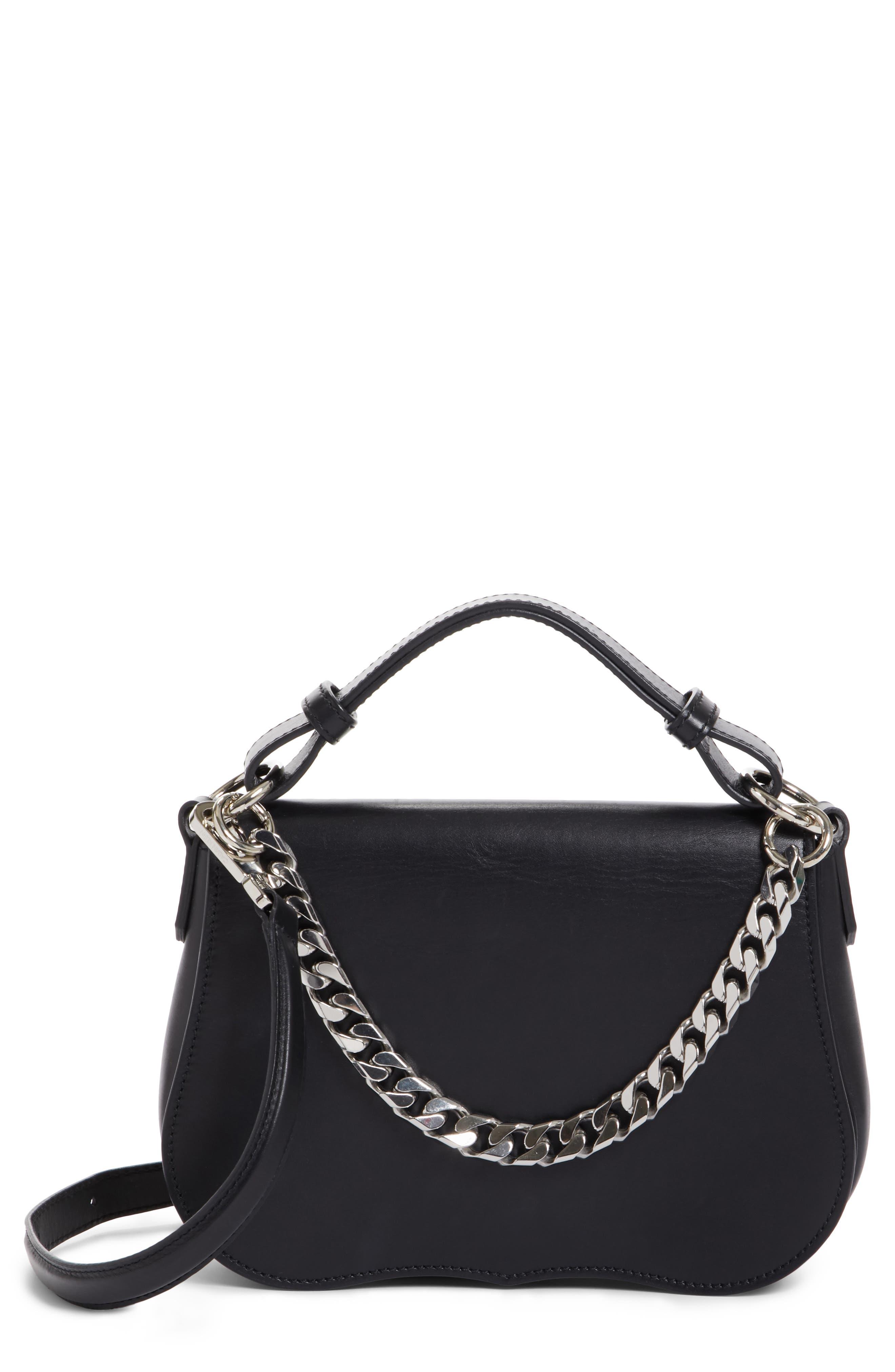 Small Calfskin Shoulder Bag,                             Main thumbnail 1, color,                             Black
