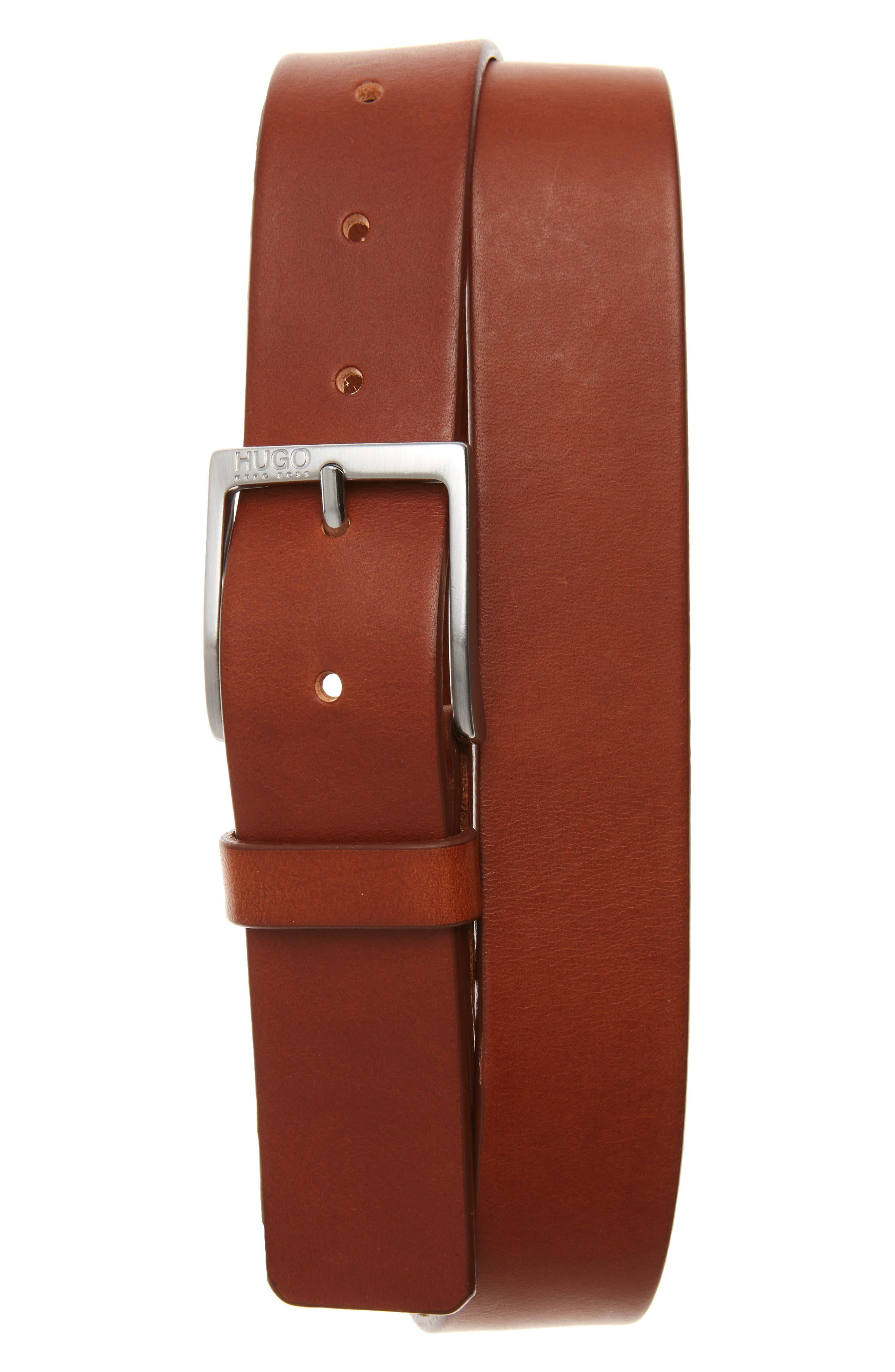 C-Gem Leather Belt,                         Main,                         color, Medium Brown