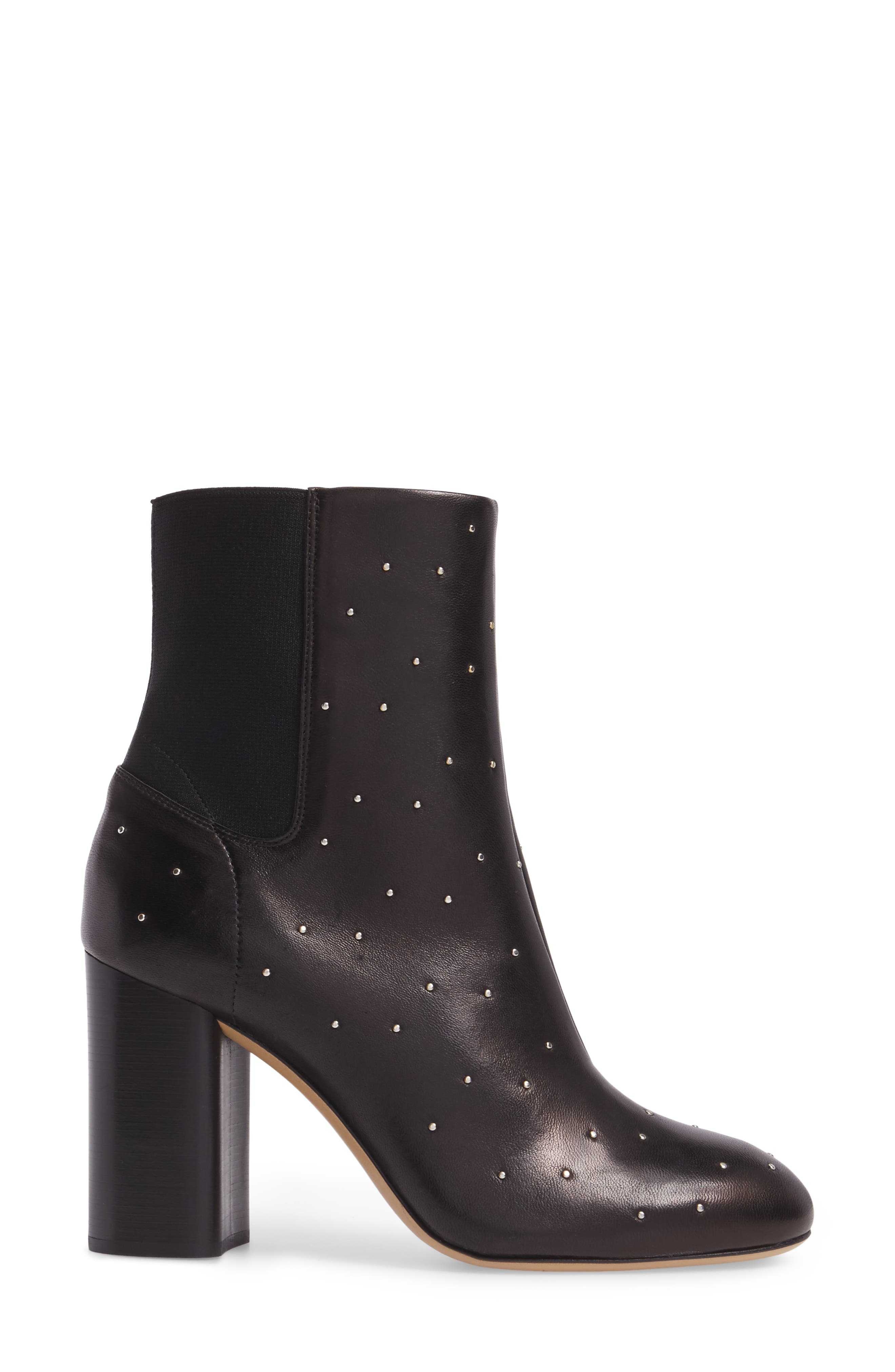 Agnes Bootie,                             Alternate thumbnail 3, color,                             Black Studded Leather