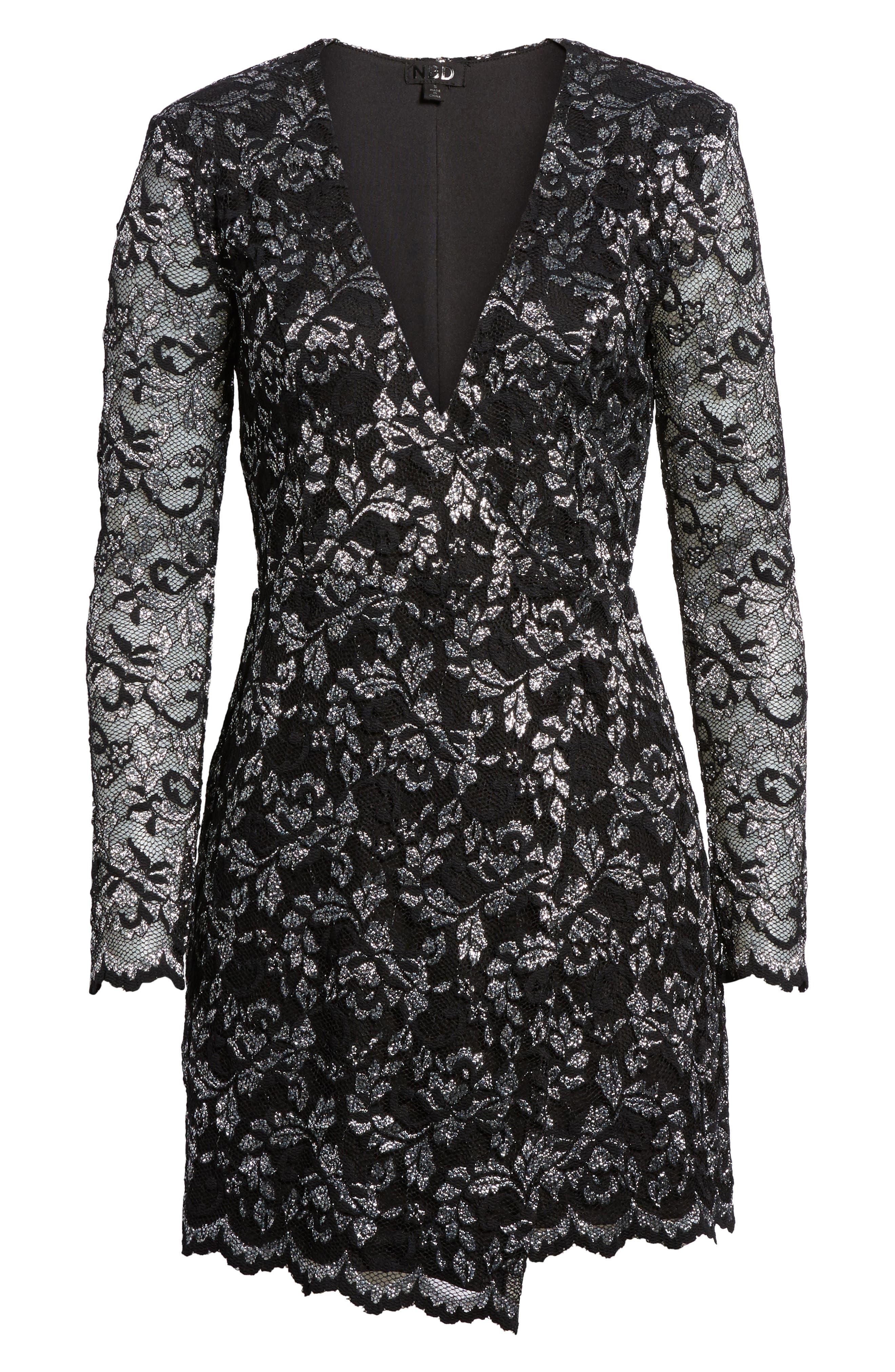 Laney Metallic Lace Wrap Dress,                             Alternate thumbnail 6, color,                             Black/ Silver