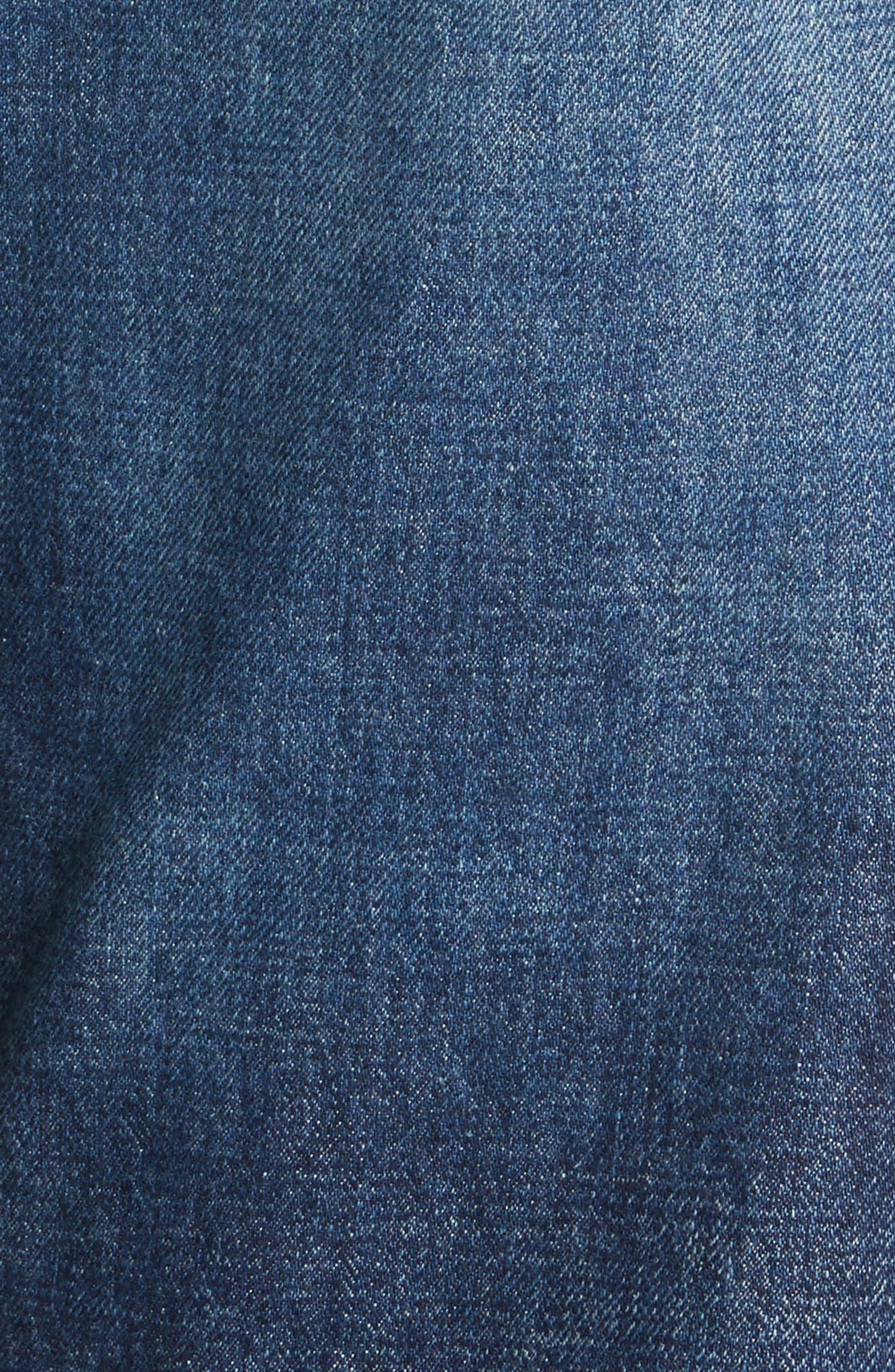 Distressed Patch Jeans,                             Alternate thumbnail 5, color,                             Indigo X Mix