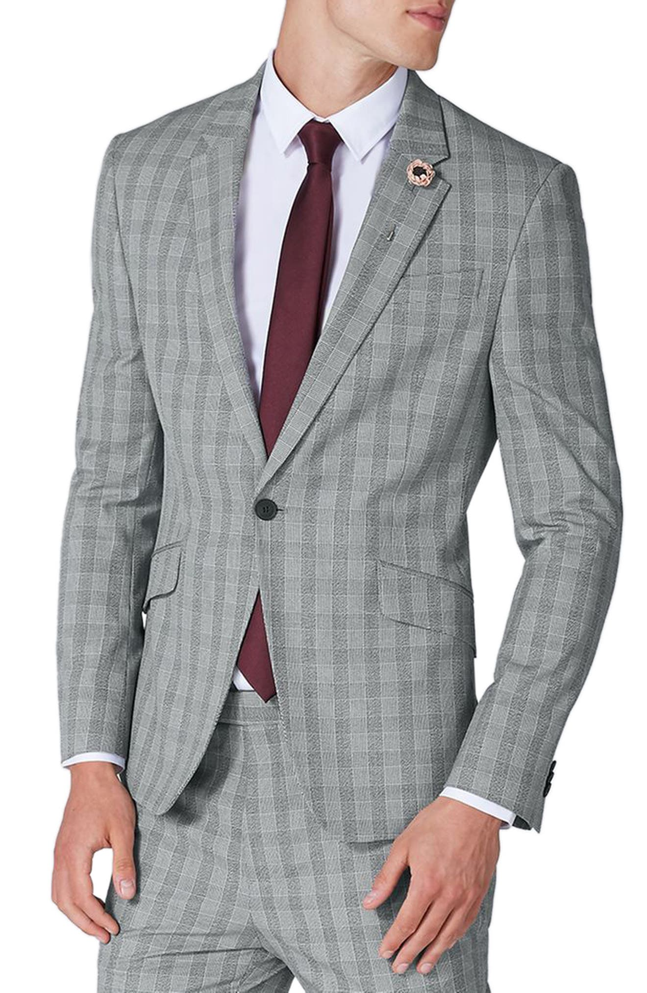 Muscle Fit Check Suit Jacket,                             Main thumbnail 1, color,                             Grey