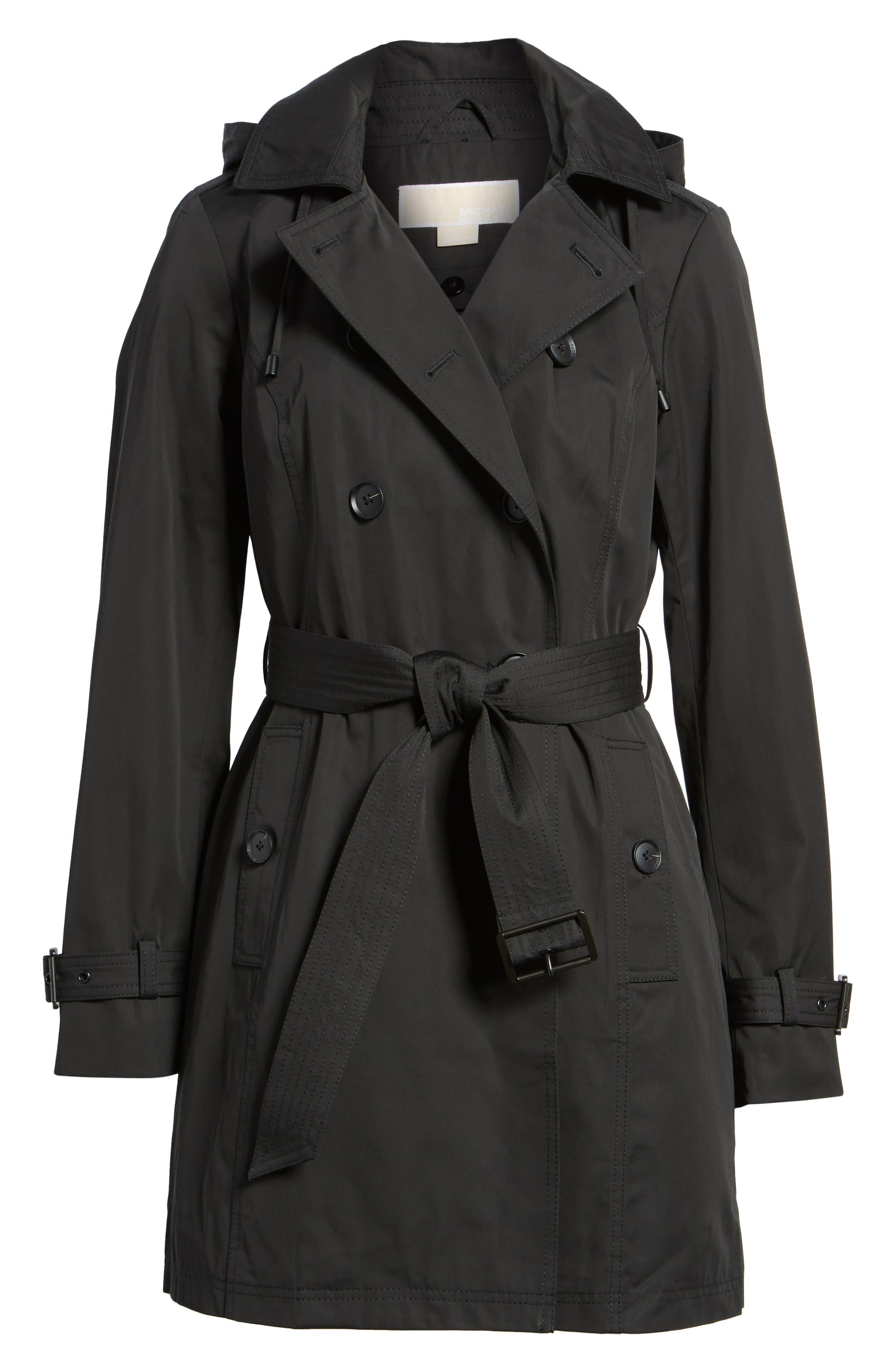 Belted Parka Jacket,                         Main,                         color, Black